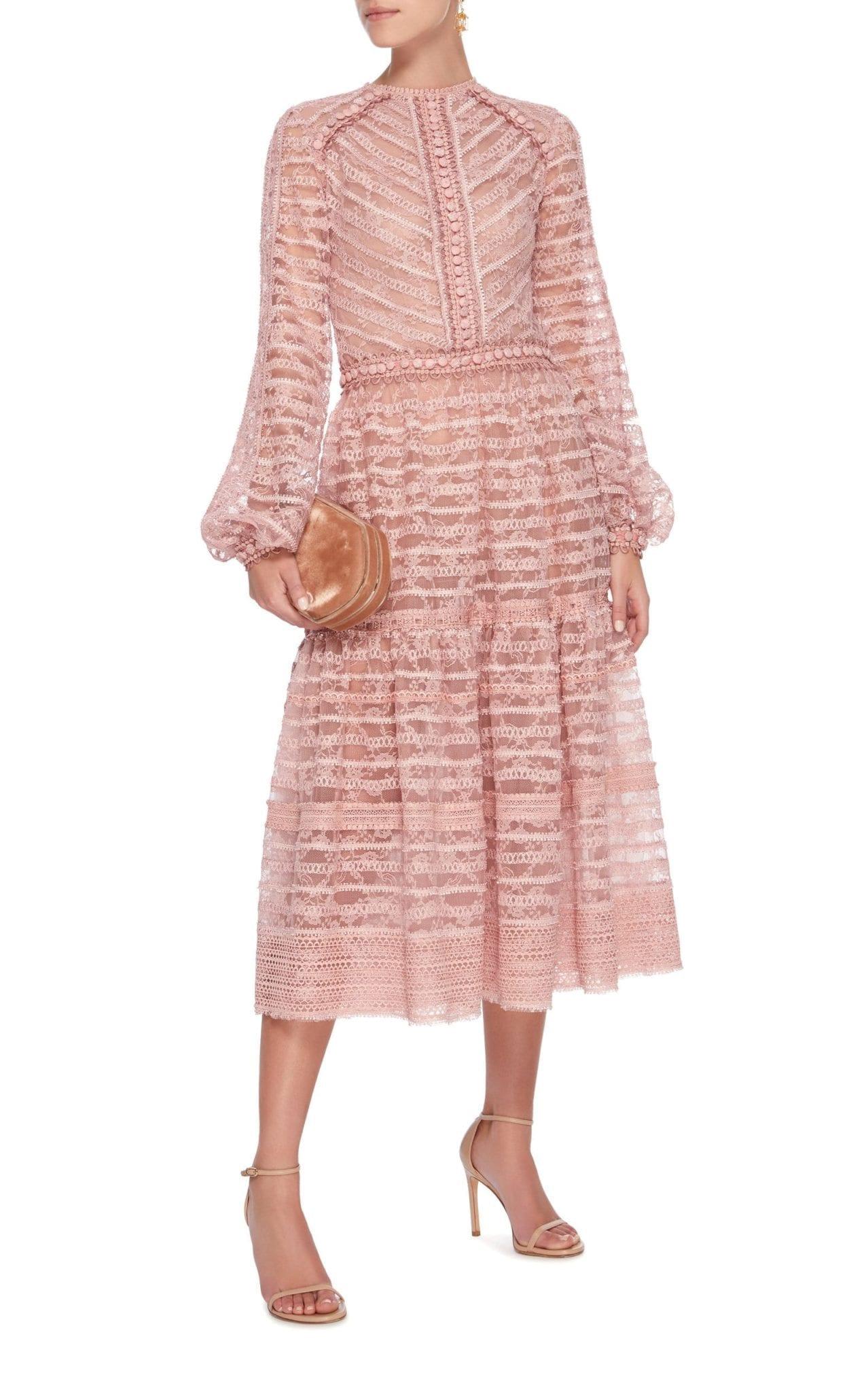 7b16555553e COSTARELLOS Cordone Lace Midi Pink Dress - We Select Dresses