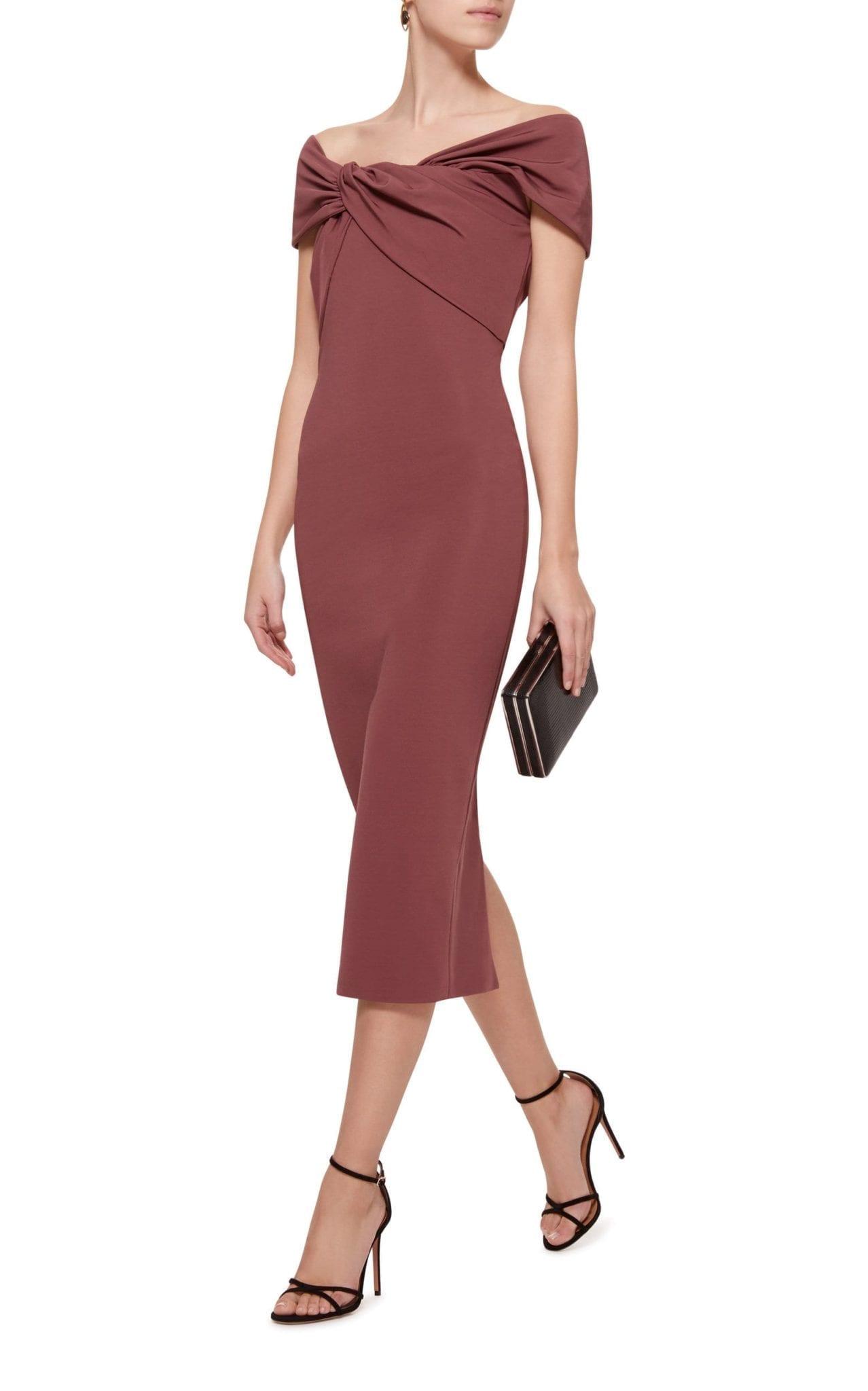 ba7667787790 CUSHNIE ET OCHS Off-The-Shoulder Stretch-Crepe Midi Brown Dress - We ...