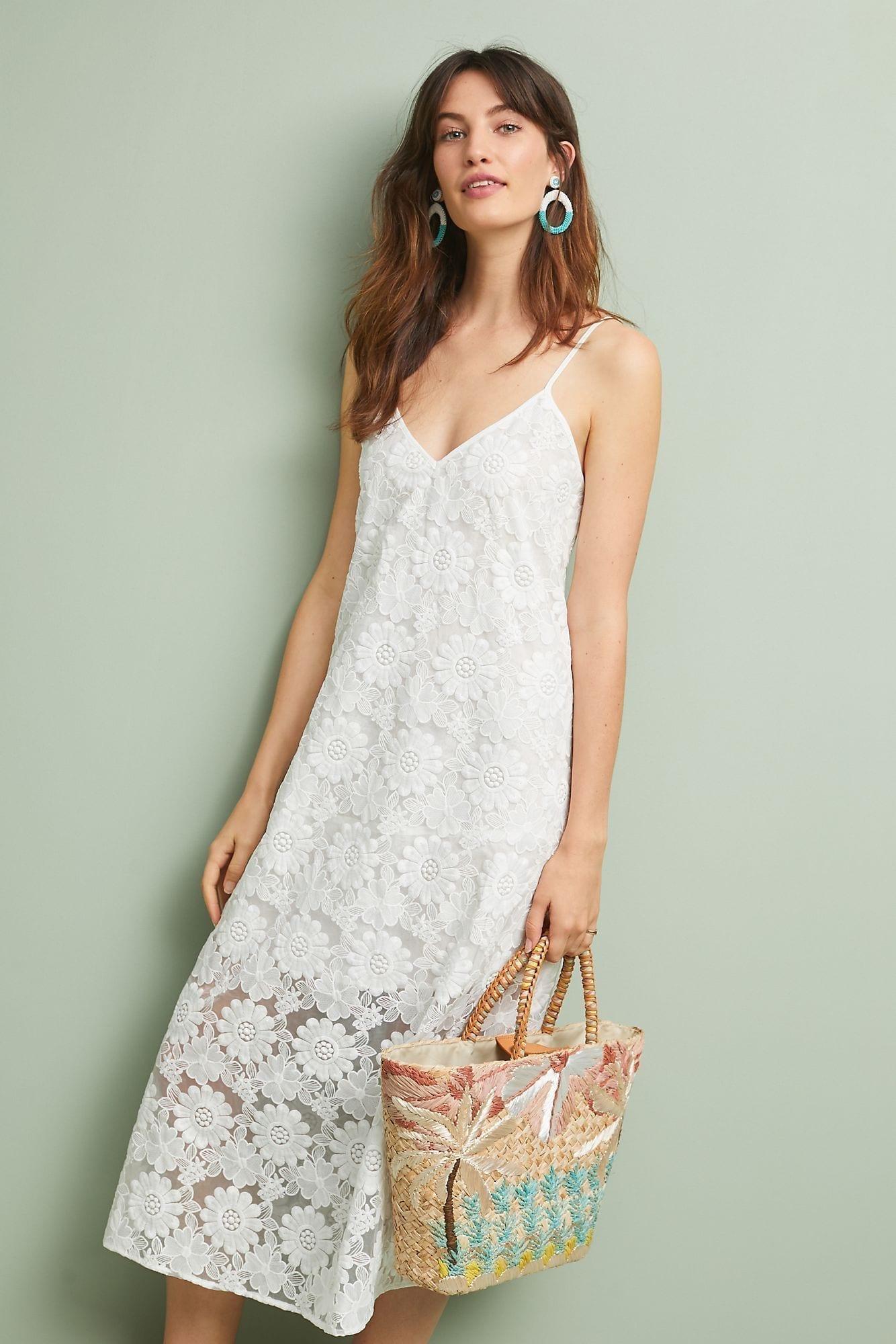 CYNTHIA ROWLEY Maya Lace Slip White Dress