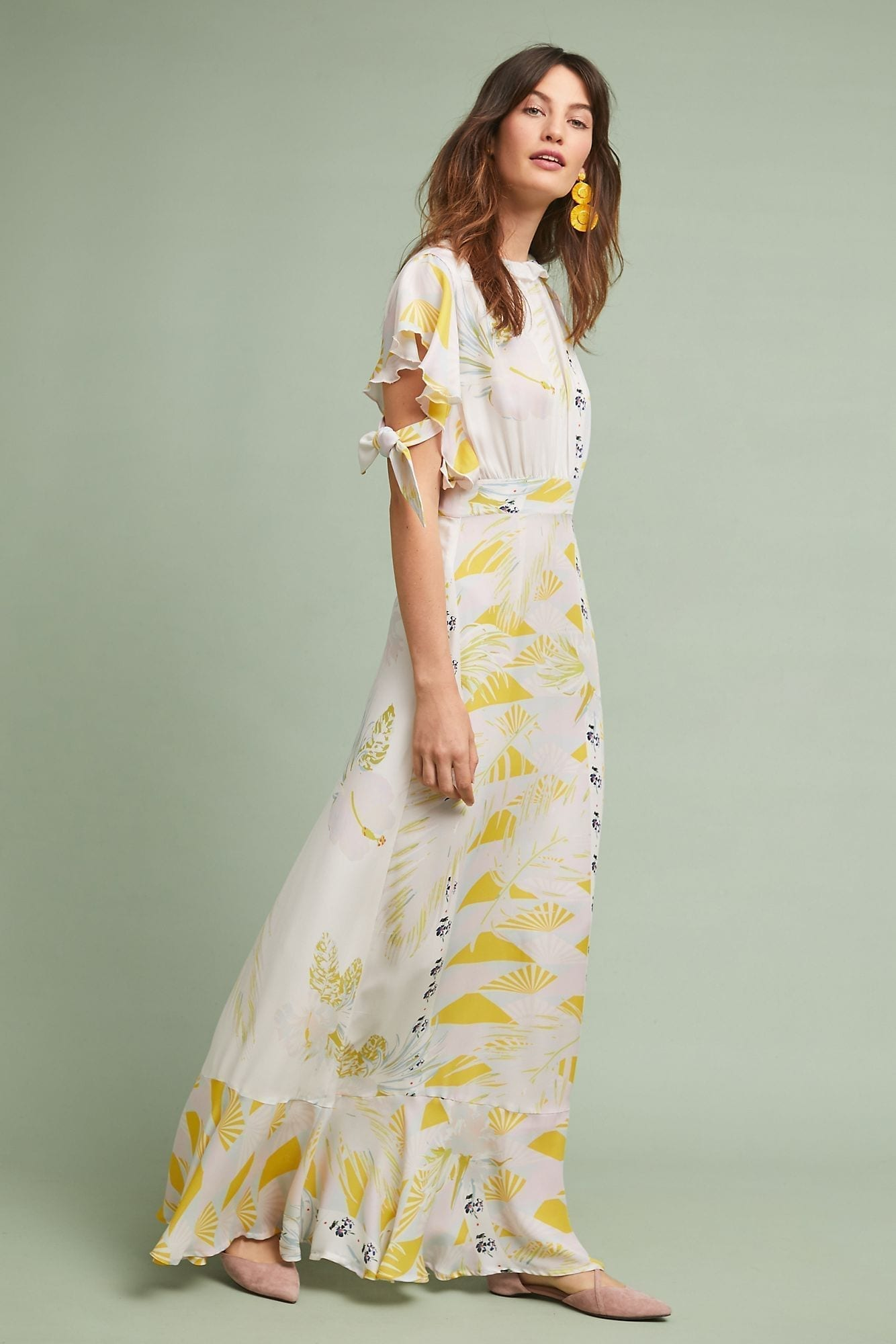 CYNTHIA ROWLEY Talia Silk Yellow Dress
