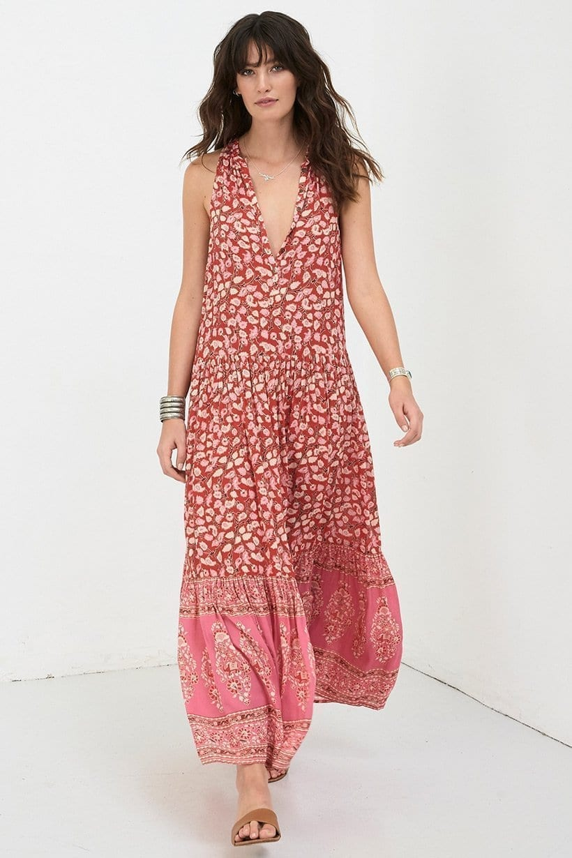 DELIRIUM Maxi Red Coral Dress