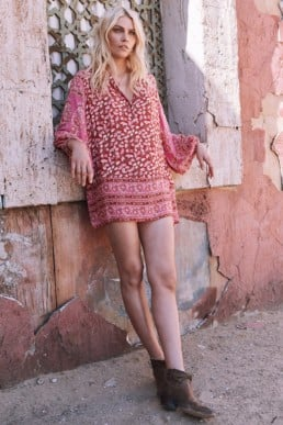 SPELL & GYPSY Delirium Smock Mini Pink Coral Dress
