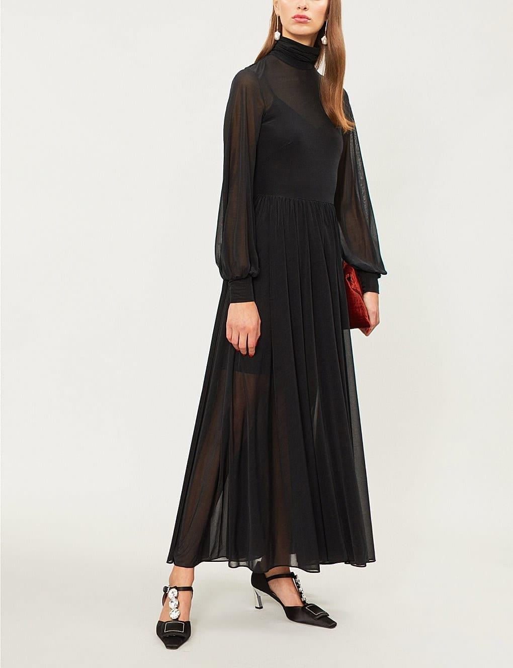 DIANE VON FURSTENBERG High Neck Pleated Woven Maxi Mason Black Dress