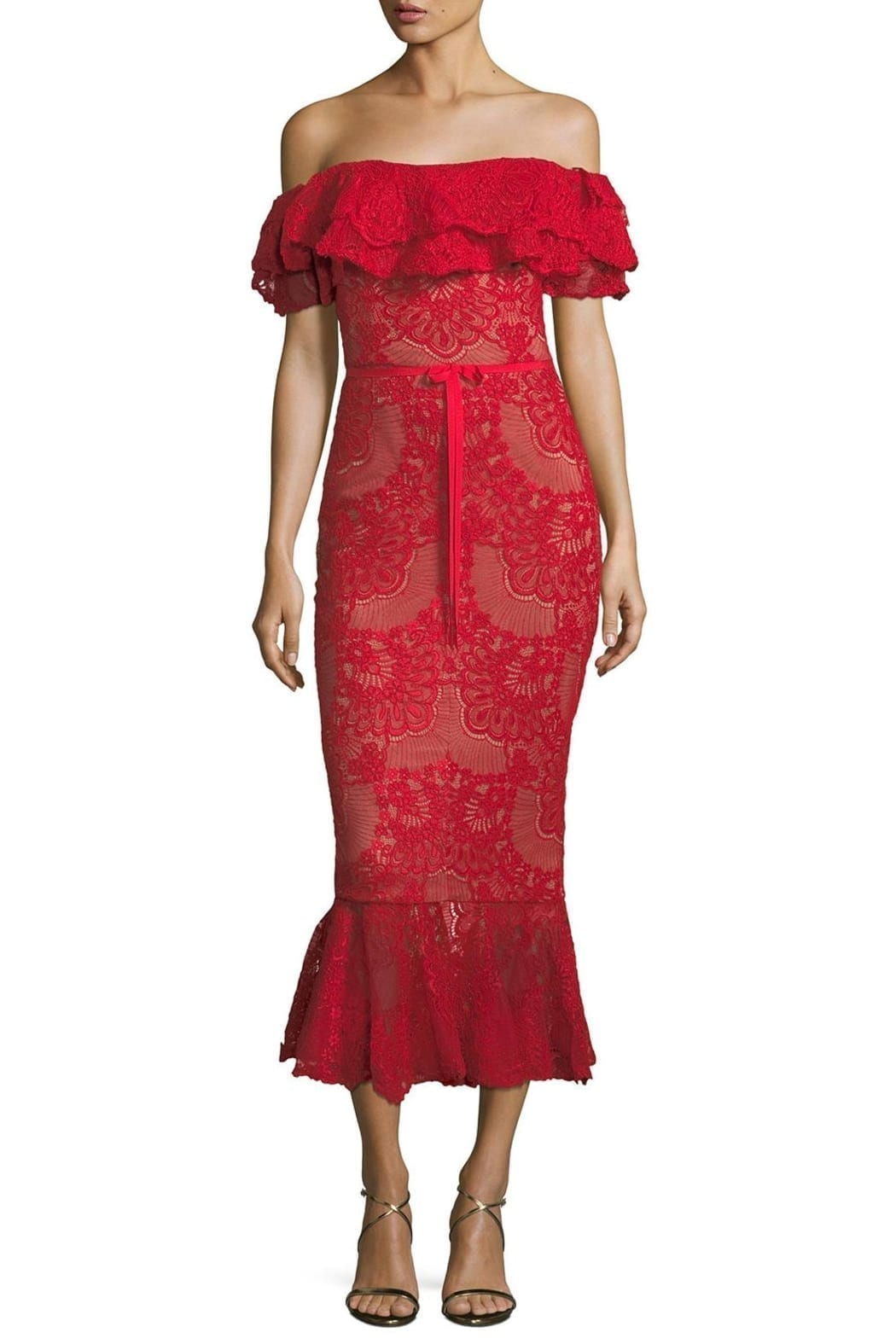 DISTRICT 5 BOUTIQUE Strapless Lace Red Dress