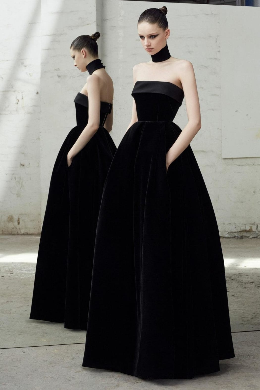 DISTRICT 5 BOUTIQUE Strapless Velvet Black Gown - We Select Dresses