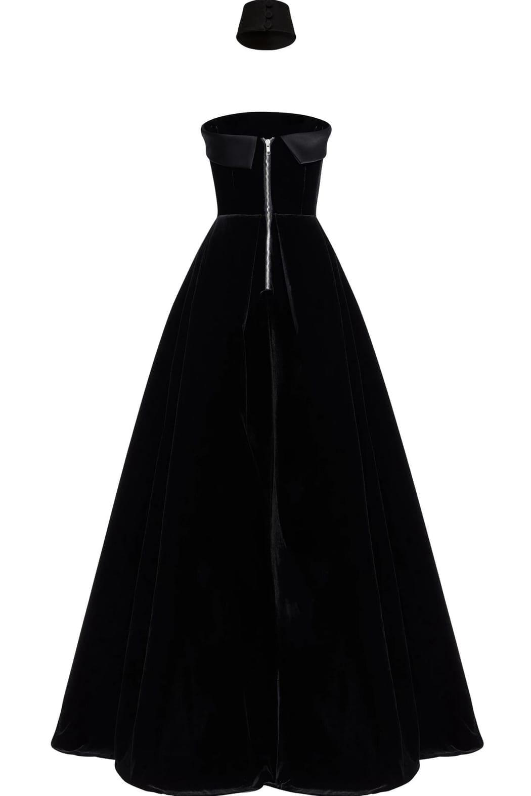 DISTRICT 5 BOUTIQUE Strapless Velvet Black Gown
