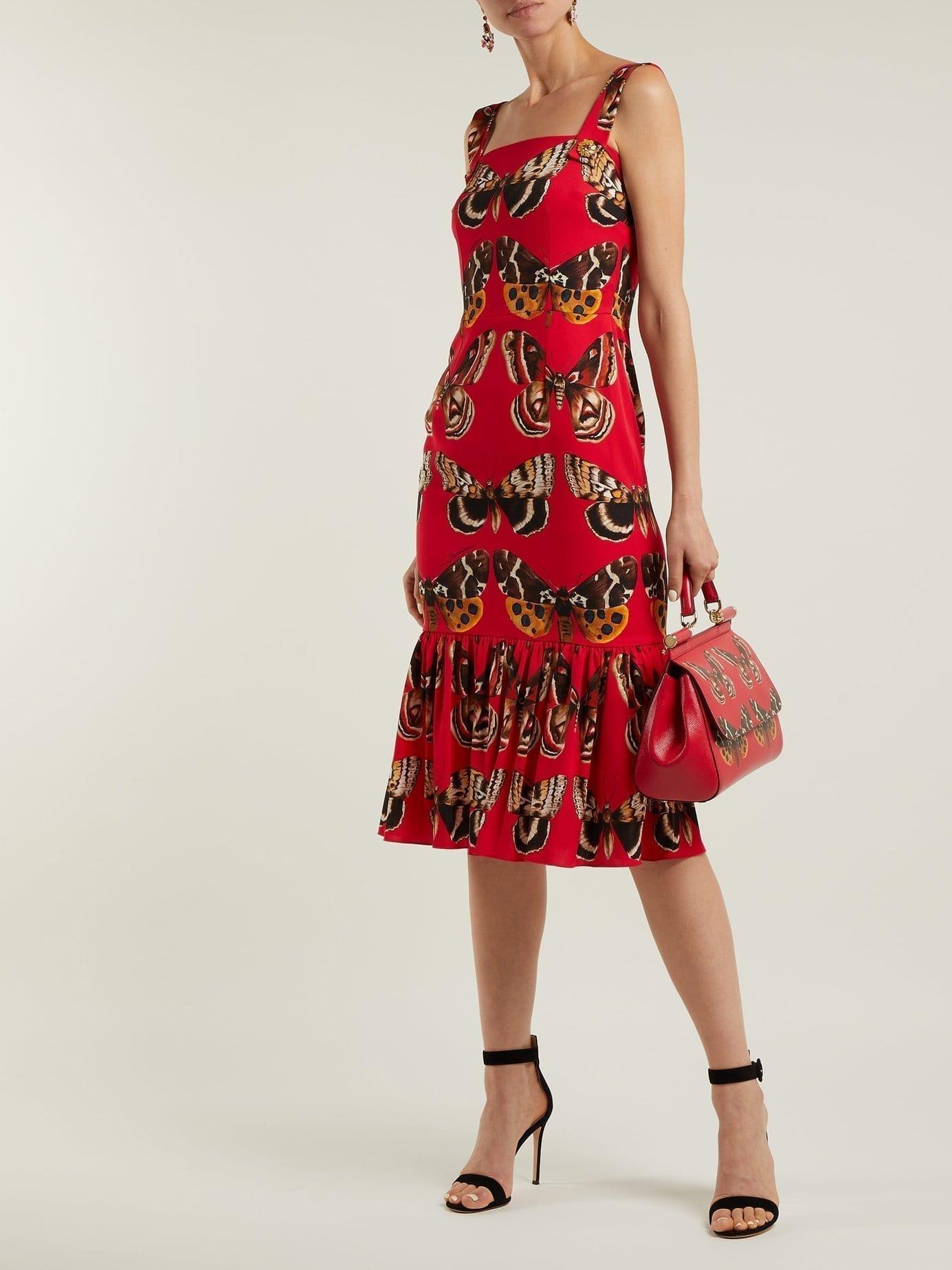 9553d3575af DOLCE   GABBANA Butterfly Print Silk Blend Midi Red Dress - We ...
