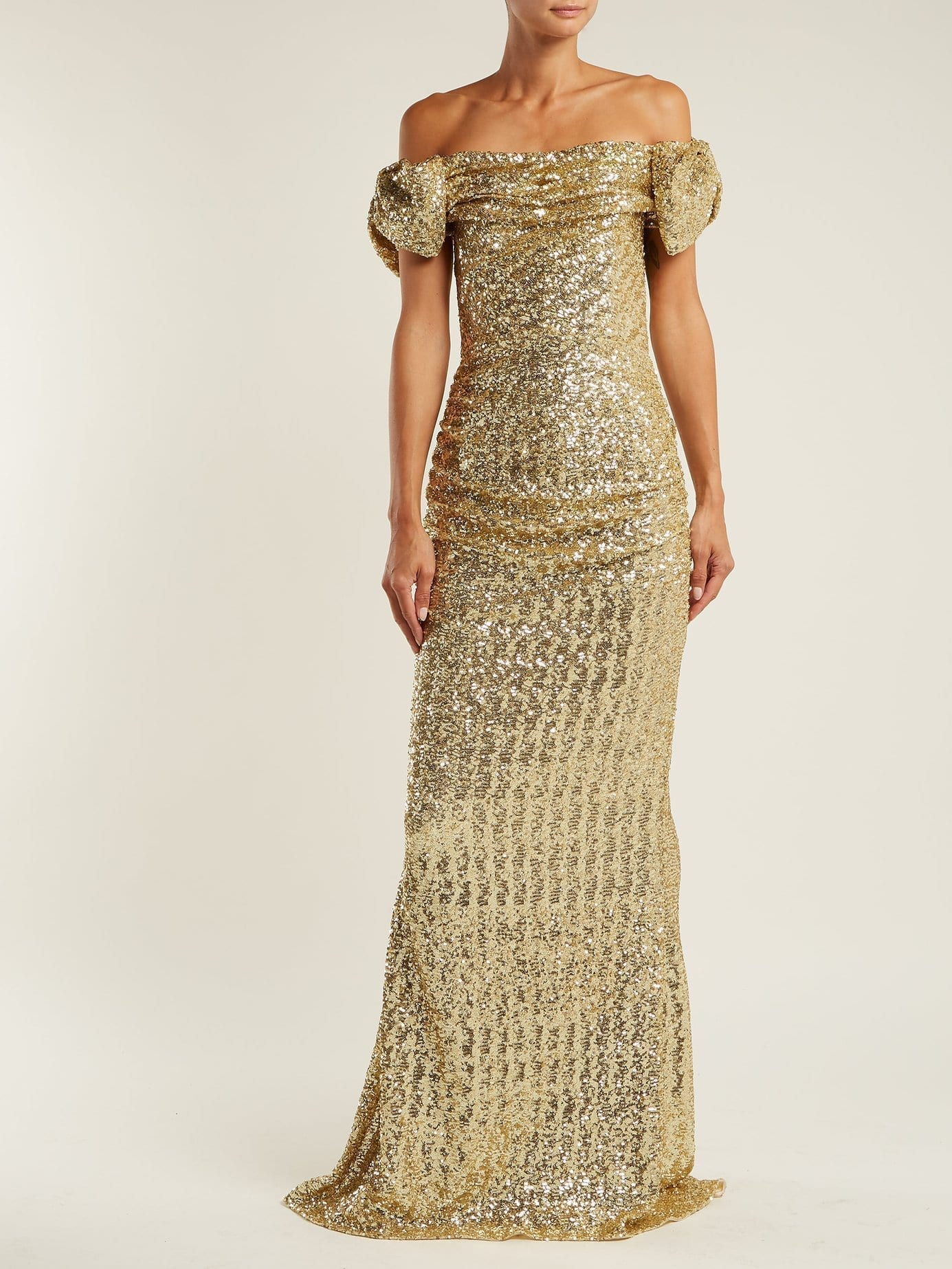 DOLCE & GABBANA Off The Shoulder Sequinned Gown