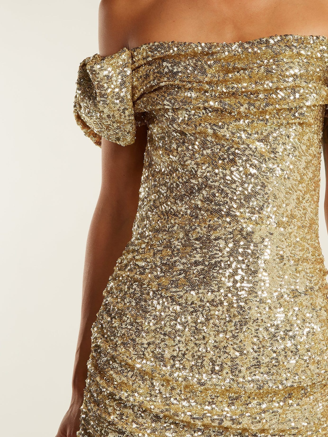 DOLCE & GABBANA Off The Shoulder Sequinned Gold Gown - We Select Dresses