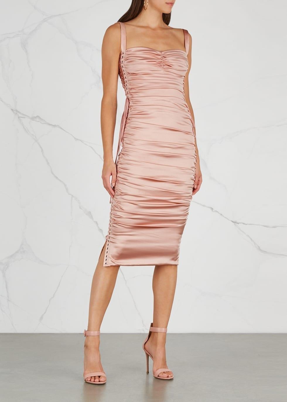 DOLCE & GABBANA Ruched Silk Satin Midi Pink Dress