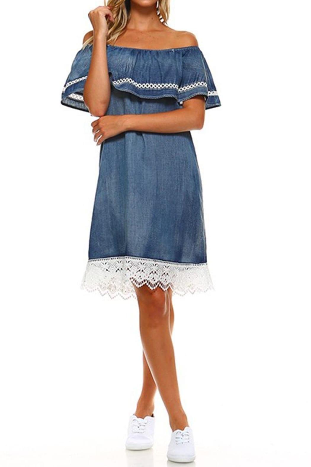DOR L'DOR Off Shoulder Blue Dress