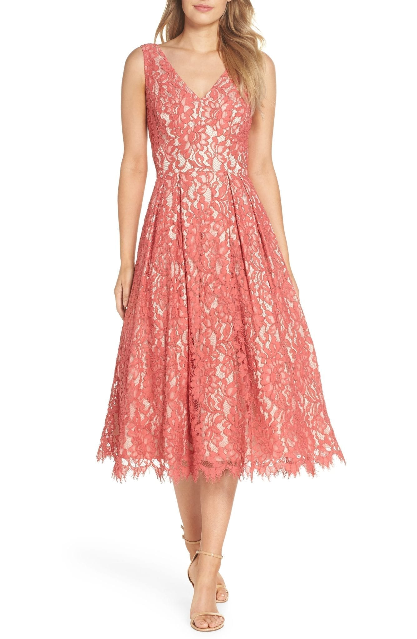 a93b788b5c ELIZA J V-Neck Lace Midi Rose Dress - We Select Dresses