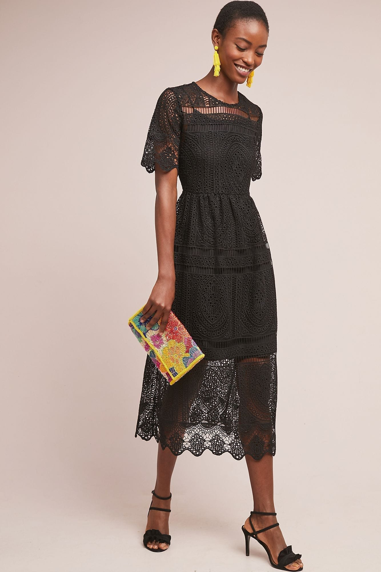 ERI + ALI Paiella Eyelet Black Dress