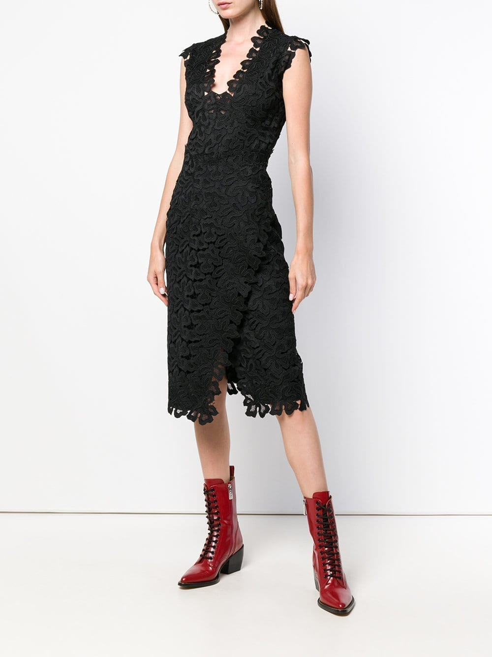 ERMANNO SCERVINO Lace Embroidered Shift Black Dress