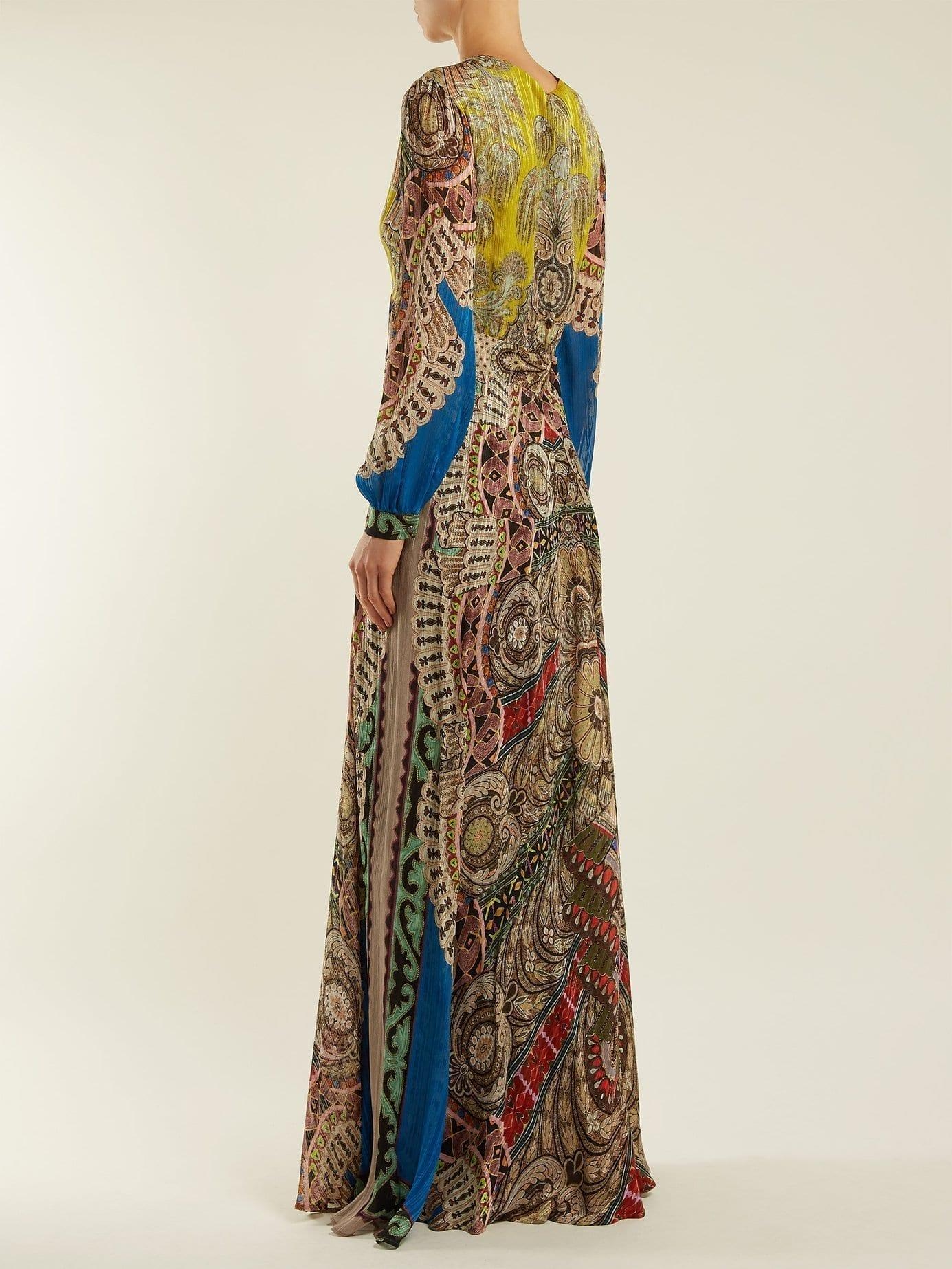 ETRO Bloodstone Paisley Print Silk Brown Gown