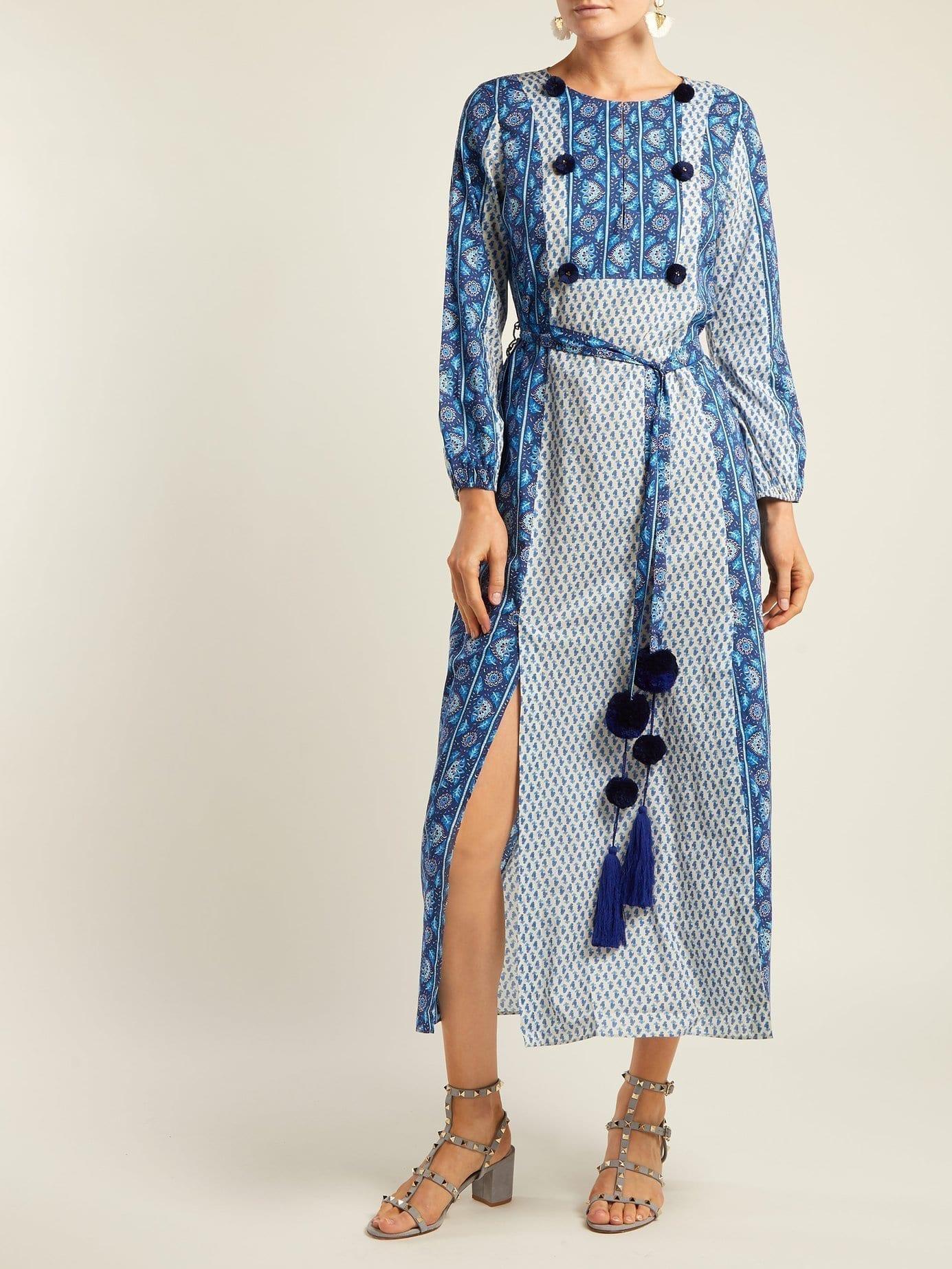 FIGUE Ravenna Cotton Maxi Blue Dress