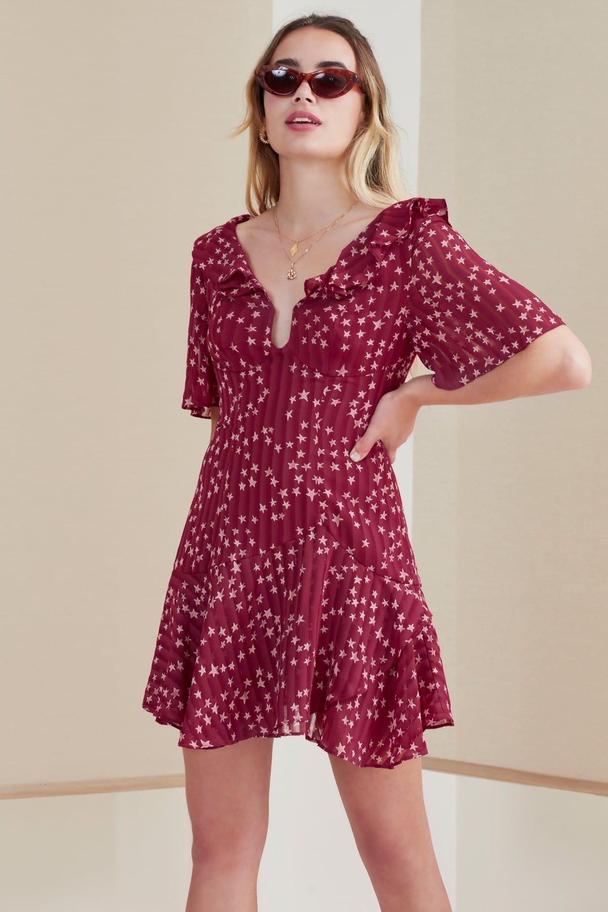 FINDERS KEEPERS Twilight Mini Cherry / Star Printed Dress