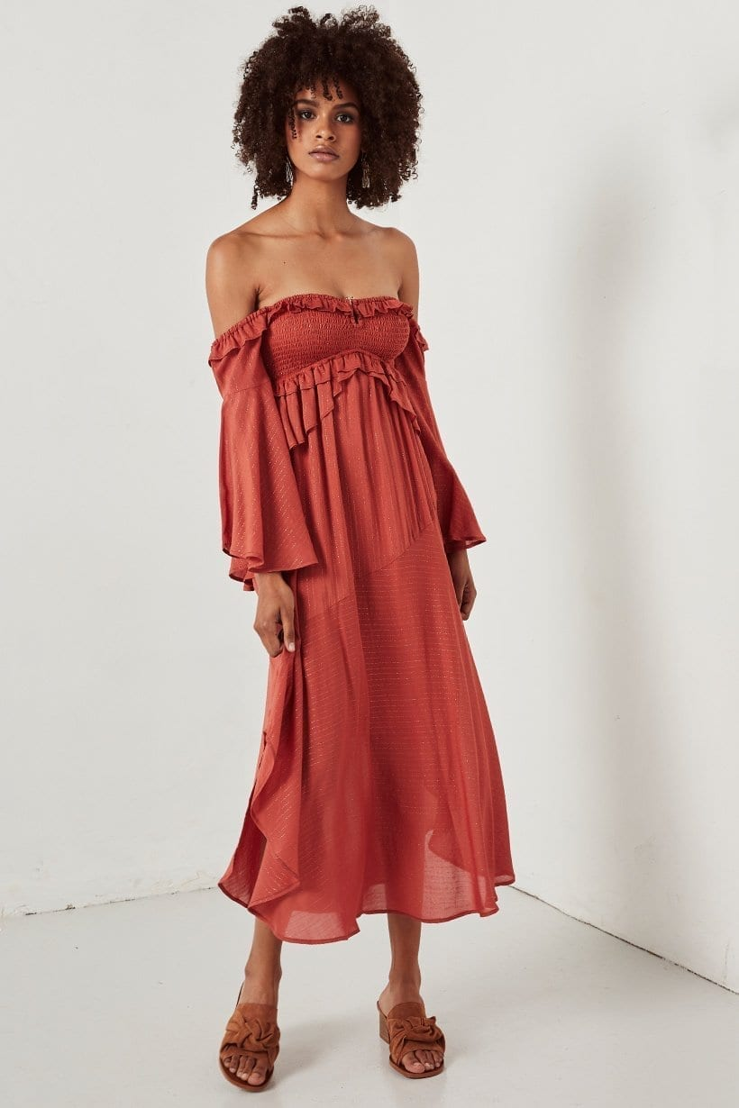 FLORENCE Midi Burnt Red Dress