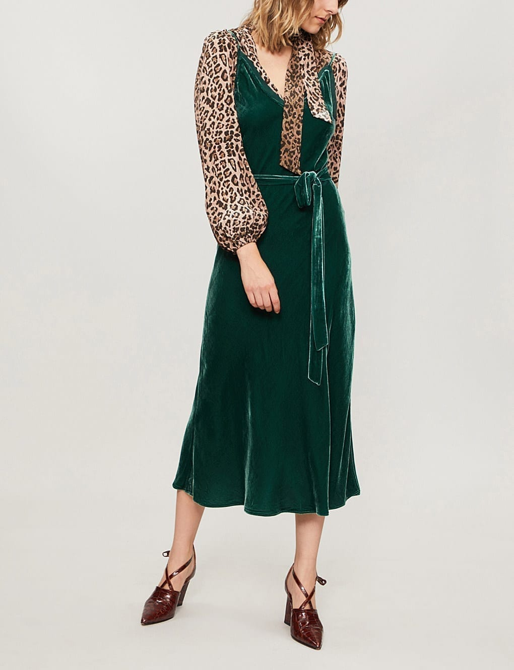 FRAME Split Hem Velvet Midi Green Dress