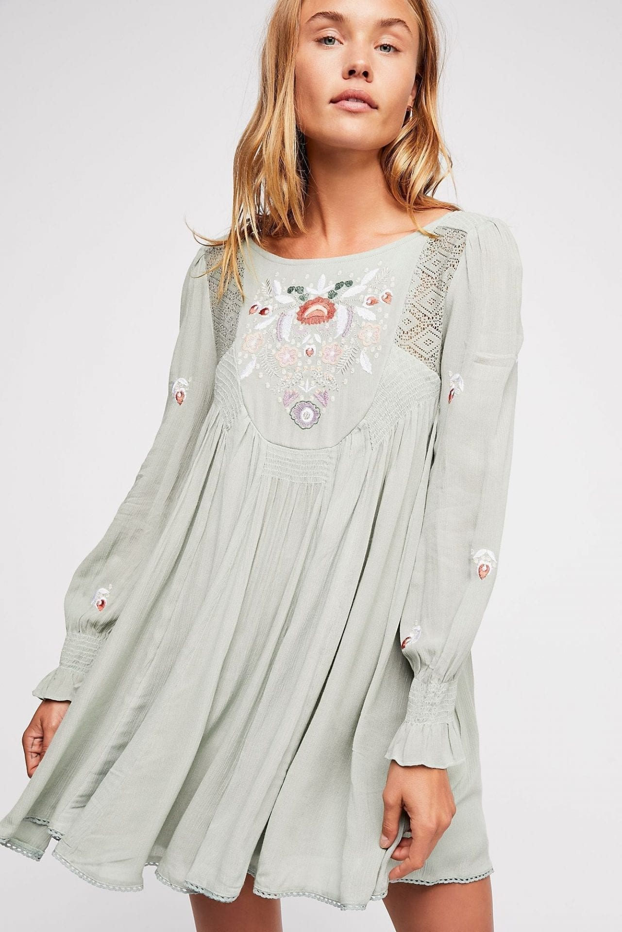 FREEPEOPLE Moya Embroidered Mini Seafoam Dress