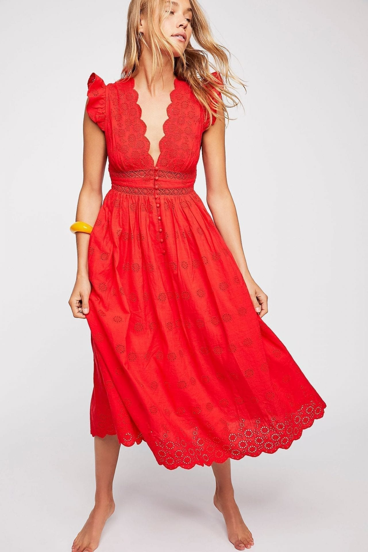 FREEPEOPLE Peach Pie Midi Bright Red Dress
