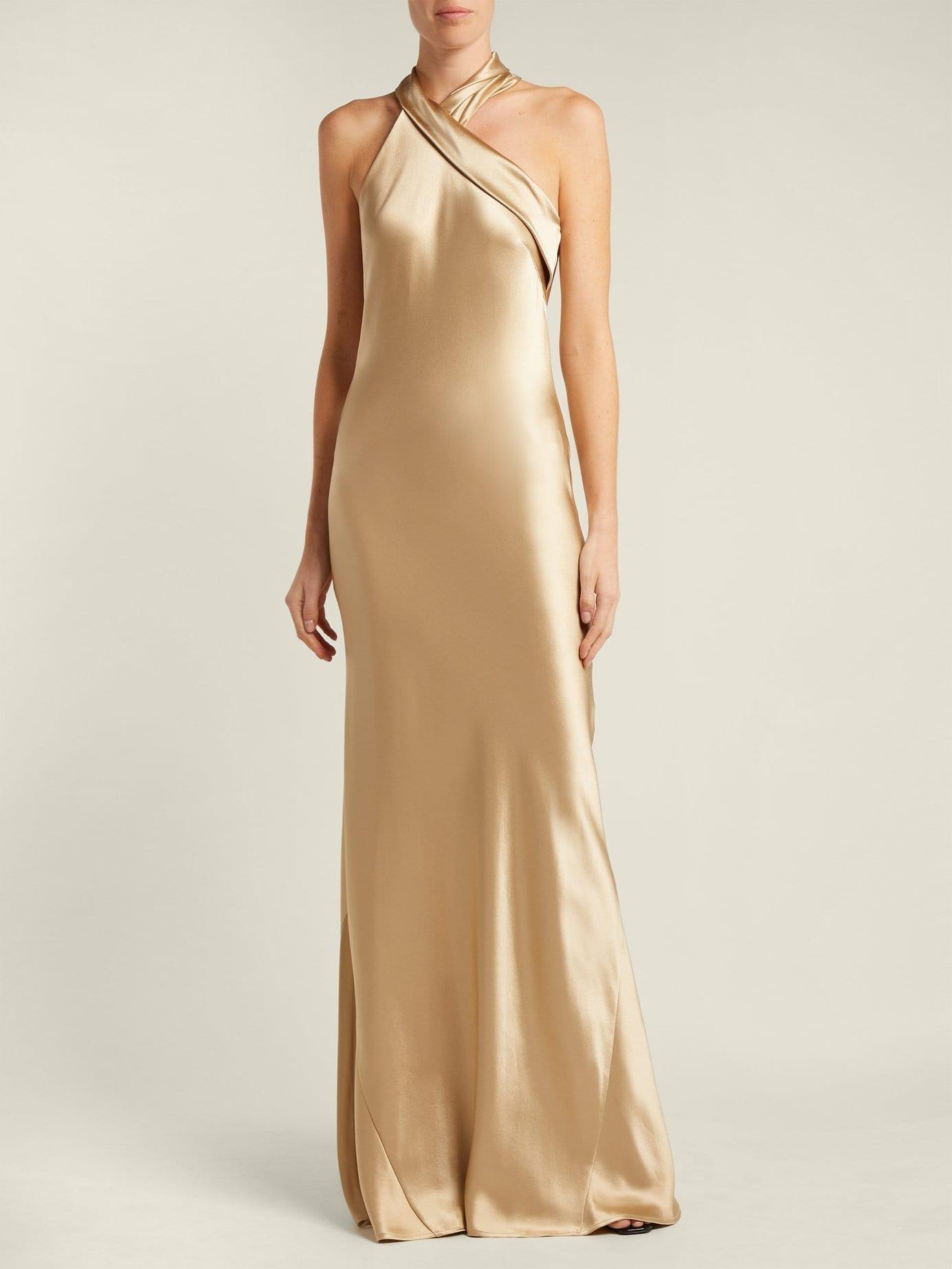 GALVAN Pandora Silk Satin Halterneck Gold Gown