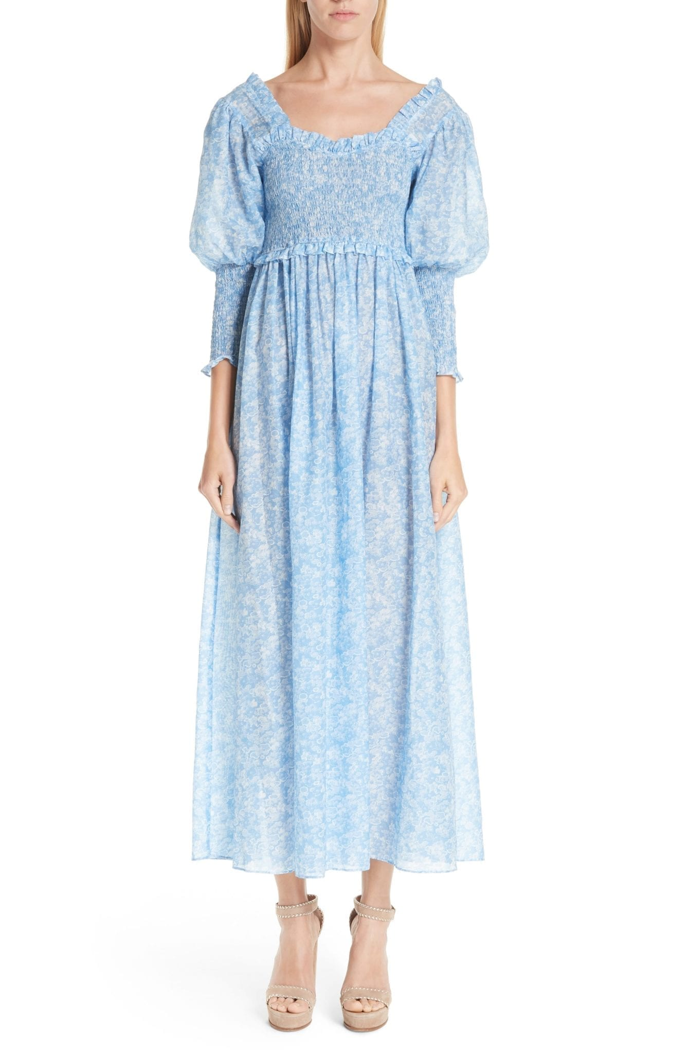 GANNI Floral Smocked Maxi Serenity Blue Dress