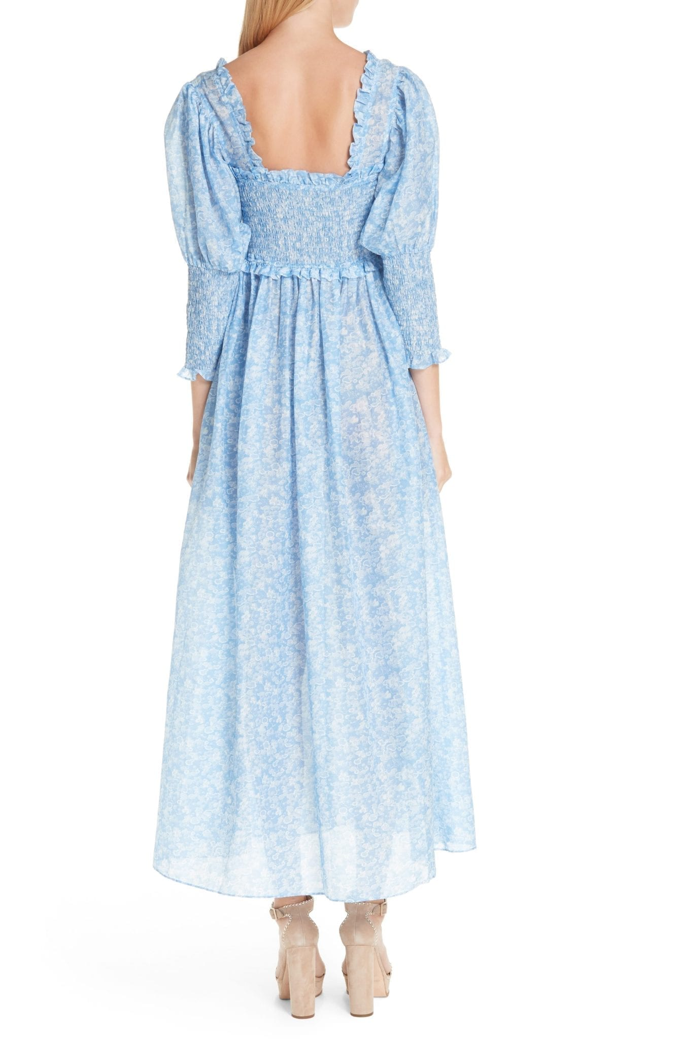 d39a7f0c GANNI Floral Smocked Maxi Serenity Blue Dress - We Select Dresses