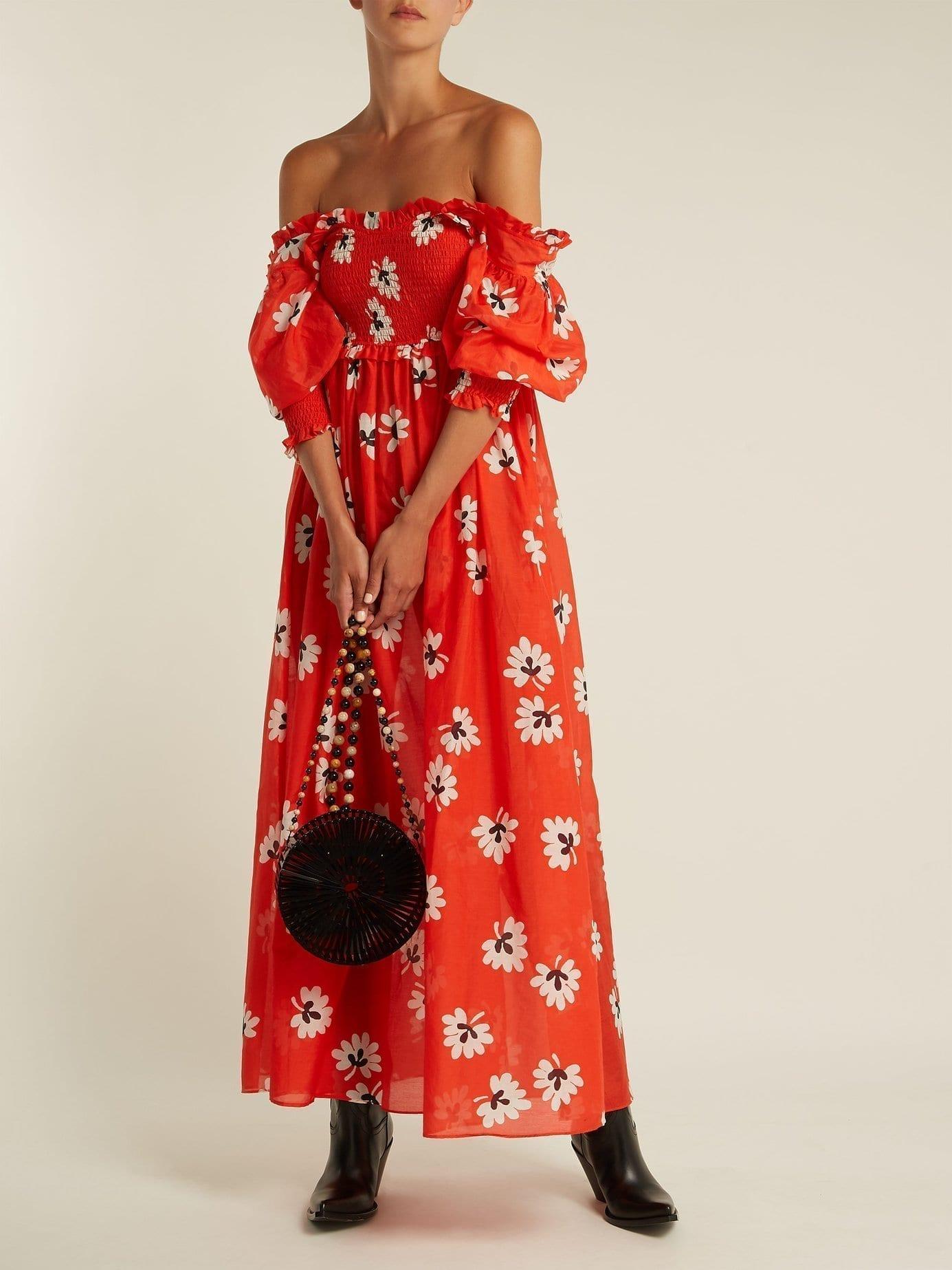 GANNI Linaria Red / Floral Printed Dress