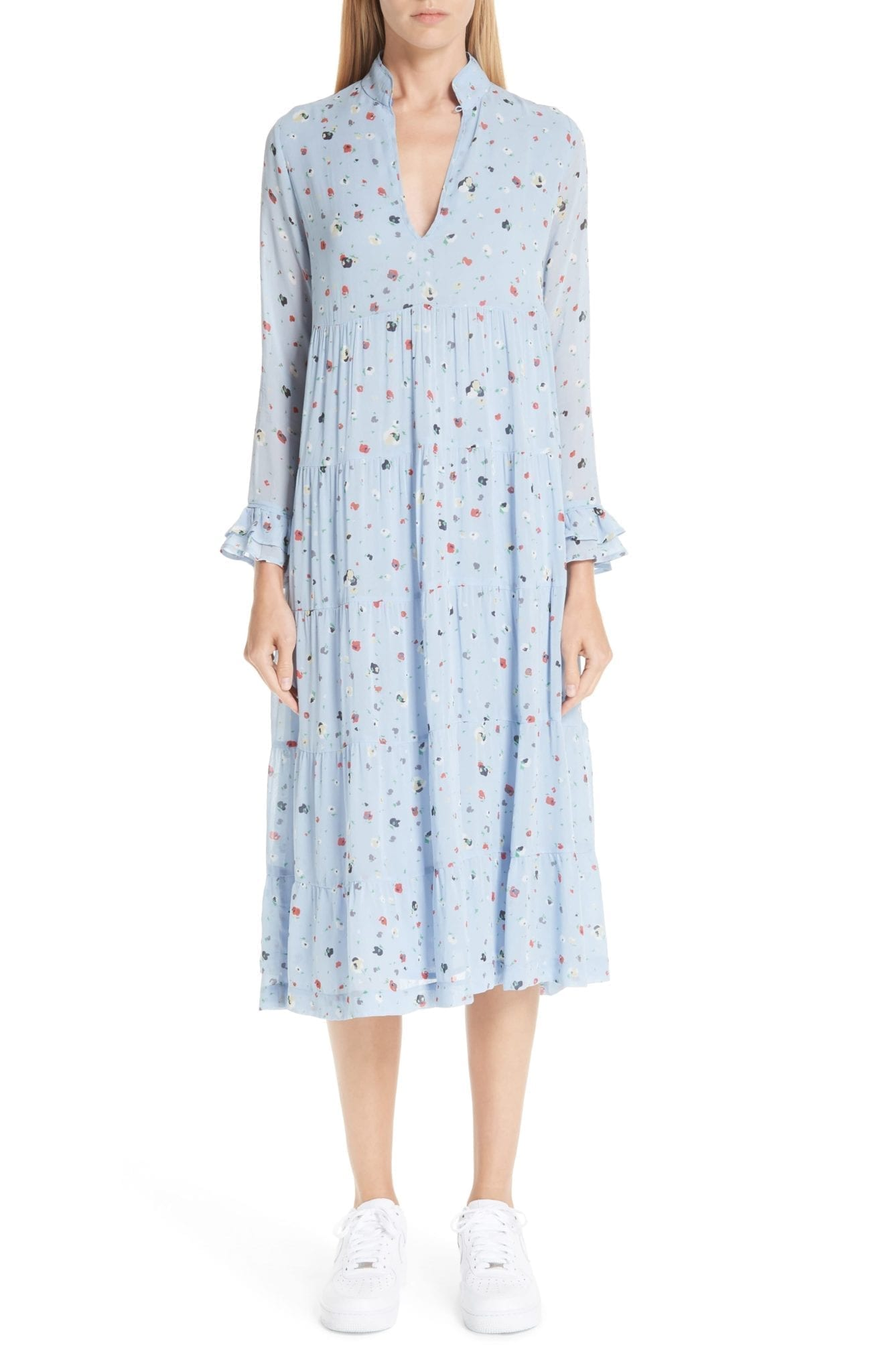GANNI Shift Serenity Blue / Floral Printed Dress