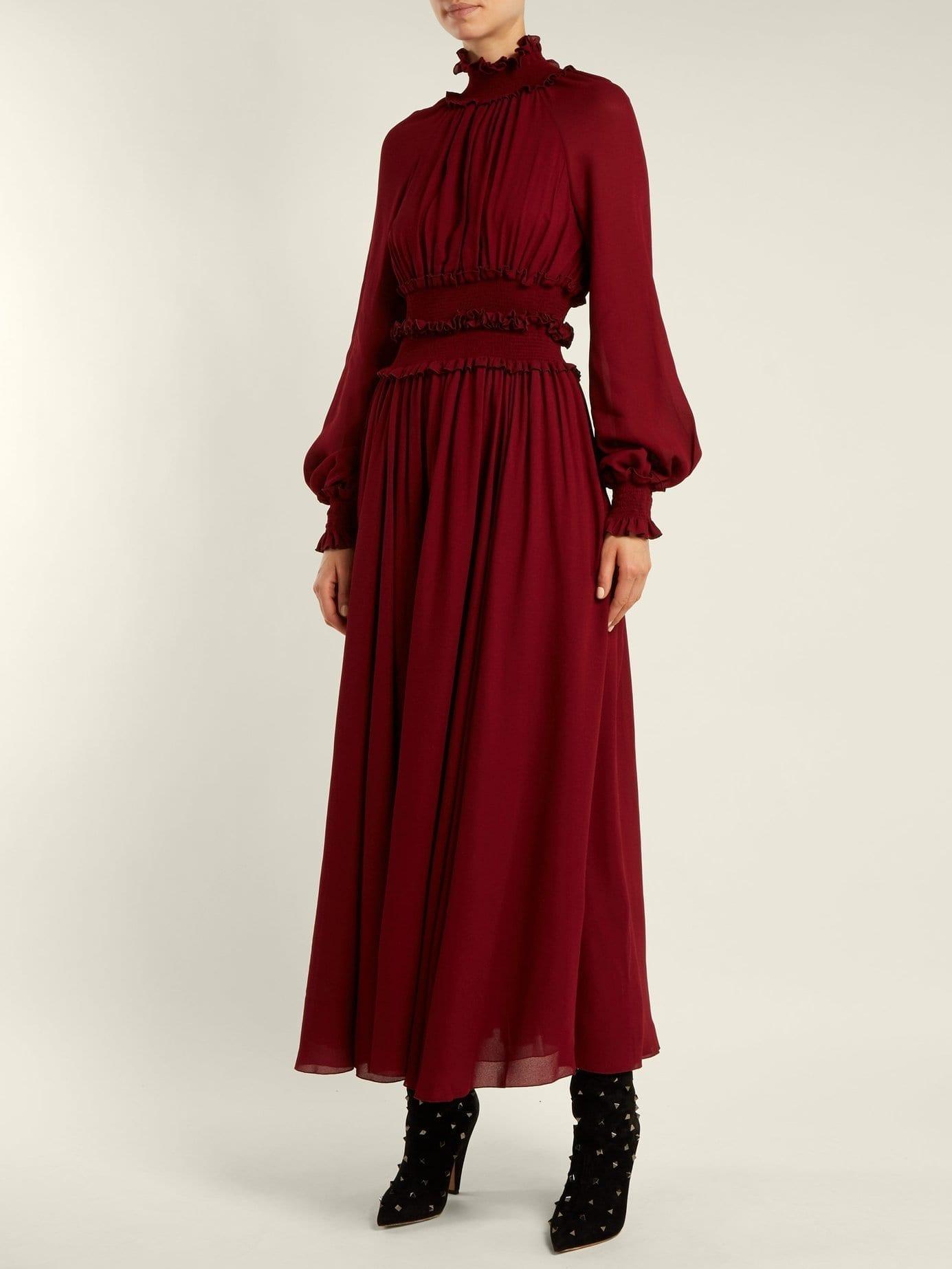 GIAMBATTISTA VALLI High Ruffle Neck Burgundy Dress