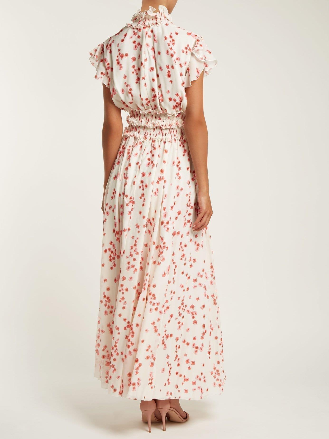Giambattista Valli Petal Print Ruffled Silk Chiffon White Dress