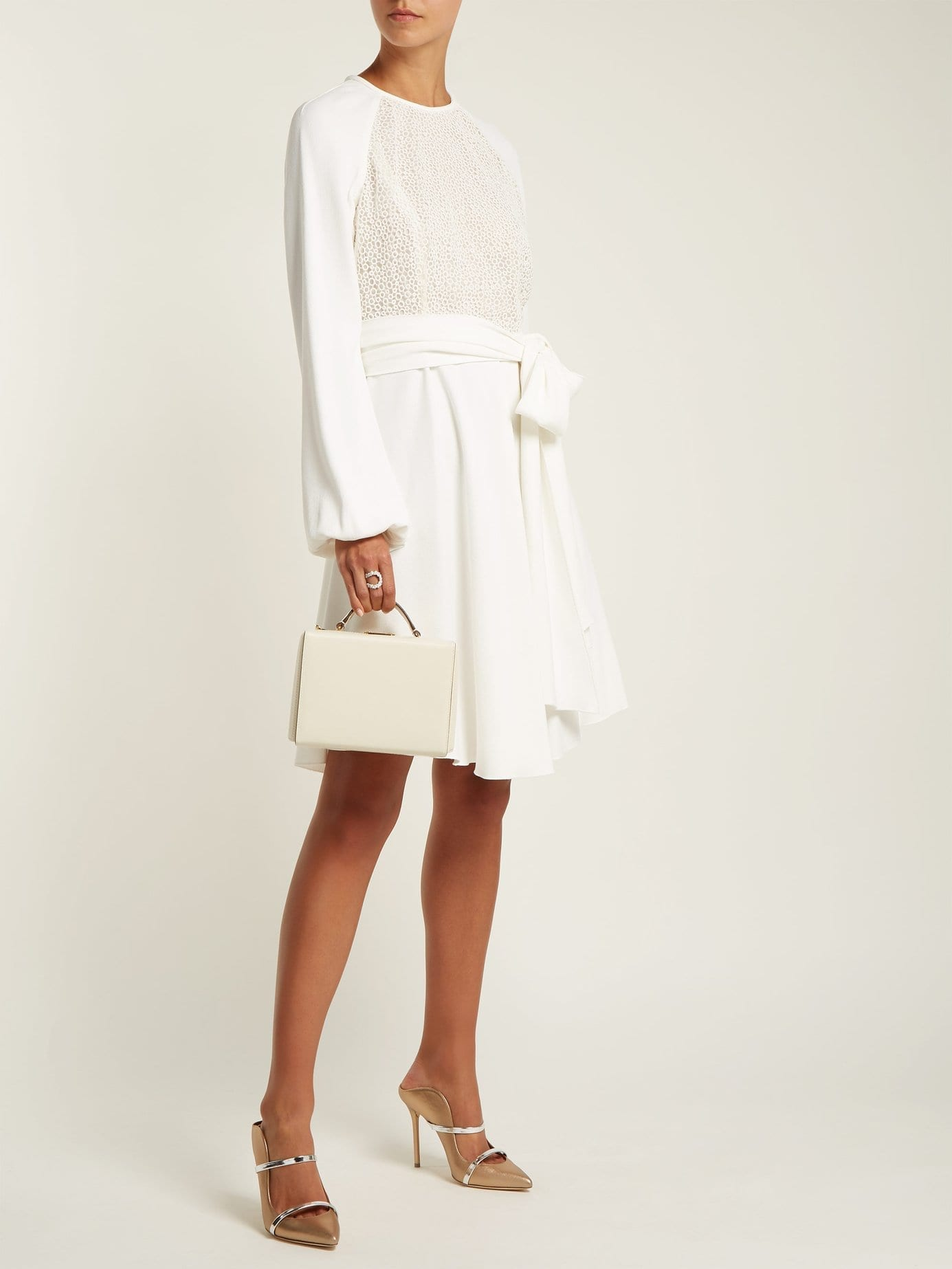 GIAMBATTISTA VALLI Pois Lace And Crepe Mini Ivory Dress