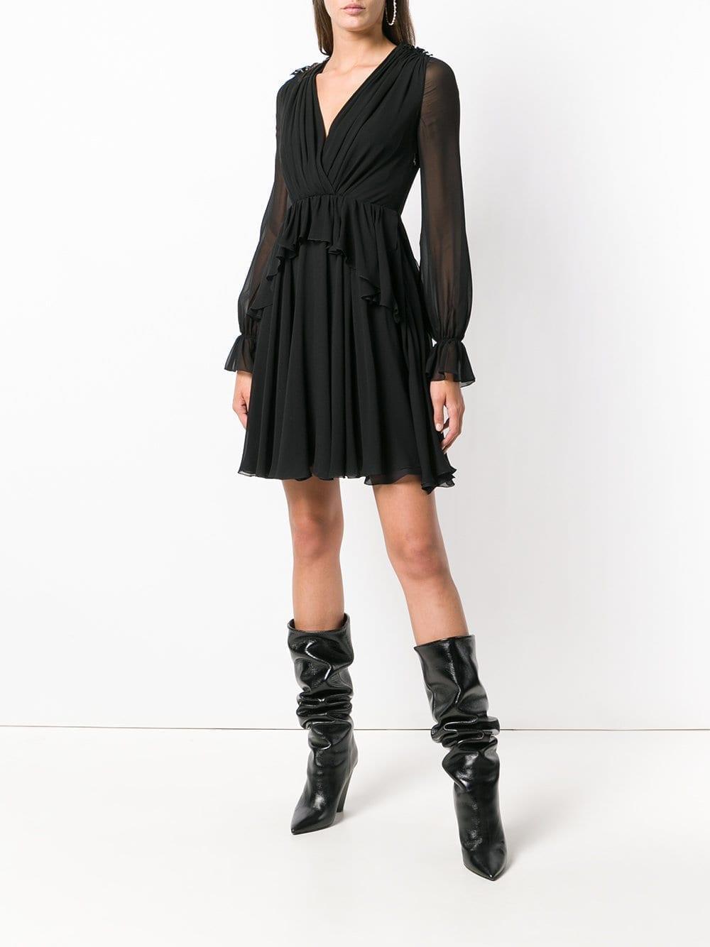 GIAMBATTISTA VALLI Ruffle Mini Black Dress