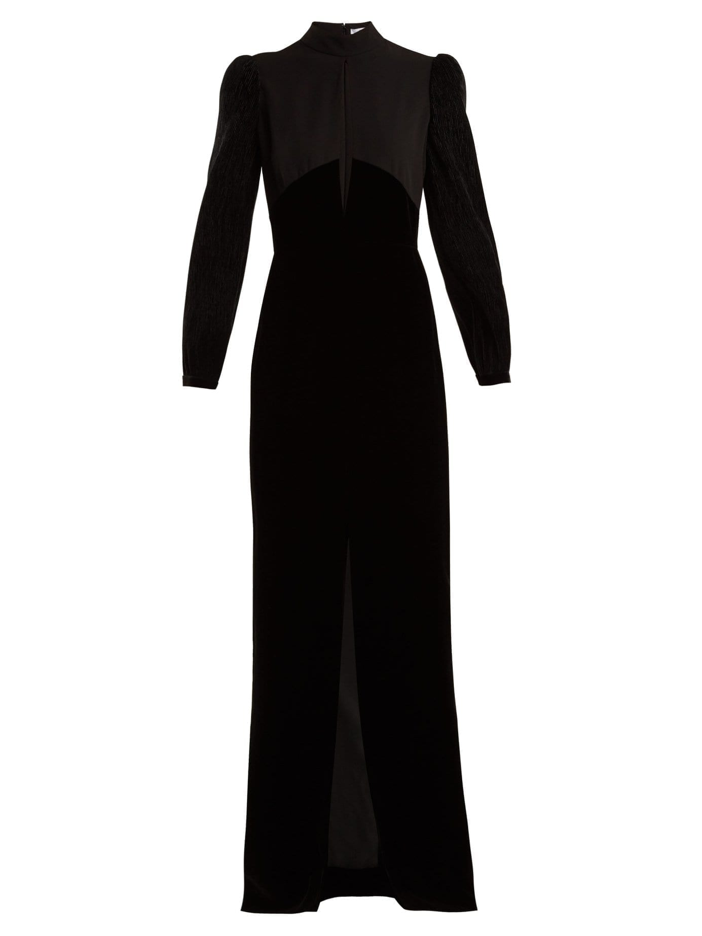 GIVENCHY Velvet And Crepe Black Gown