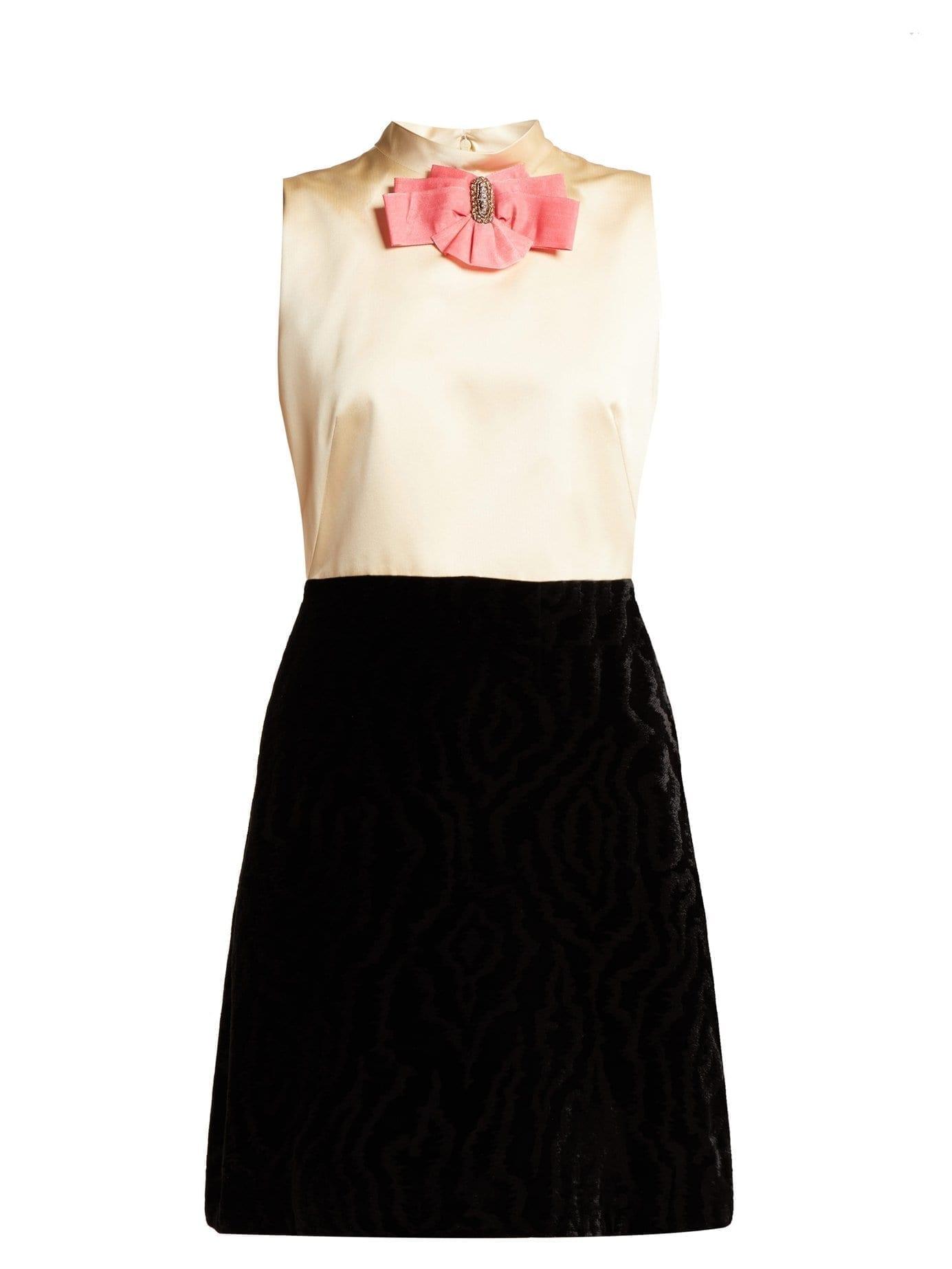 b5d22899f7cb GUCCI Contrast Panel Satin & Velvet Mini Black Dress - We Select Dresses