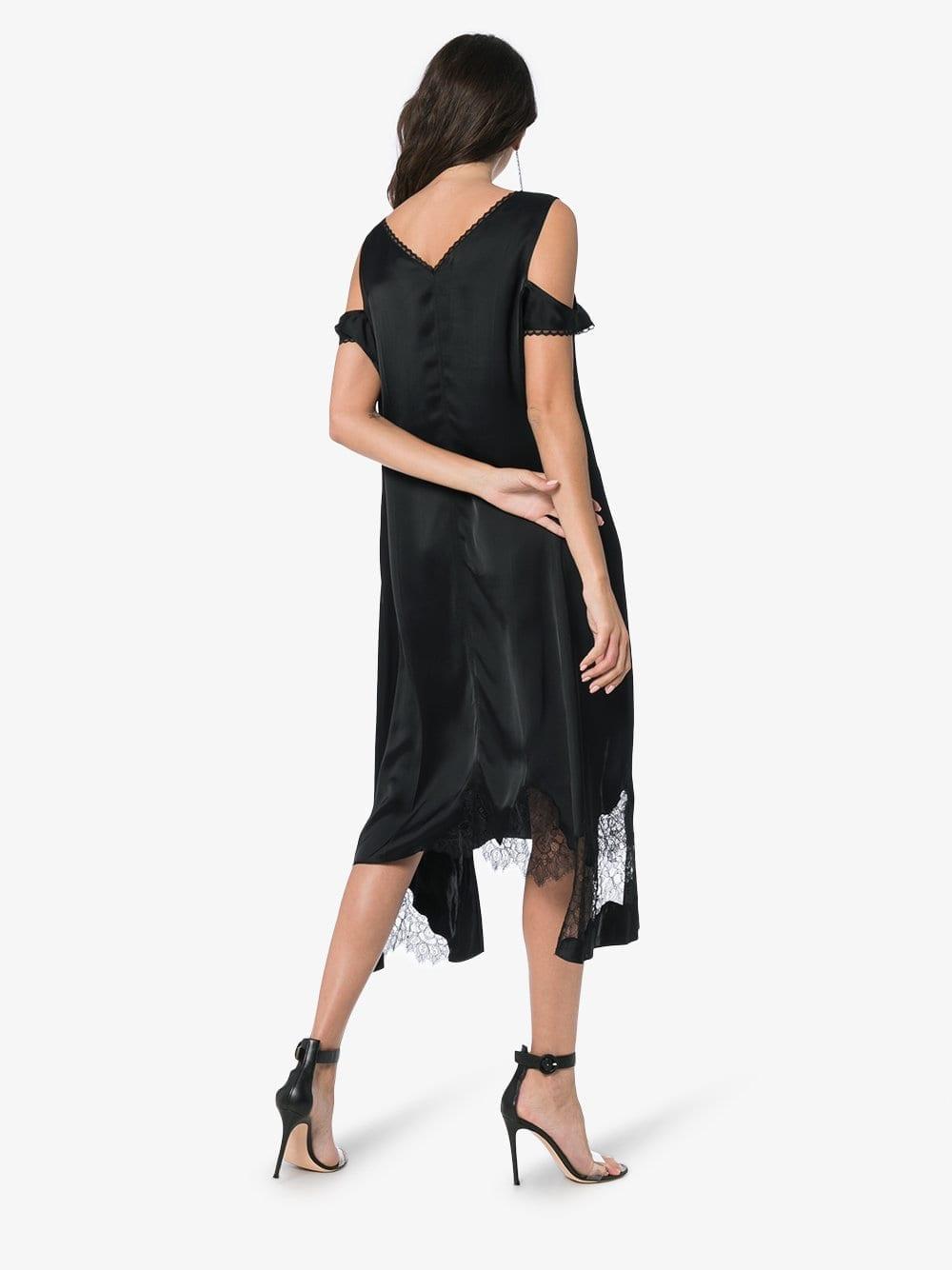 HELMUT LANG Silk Deconstructed Slip Black Dress
