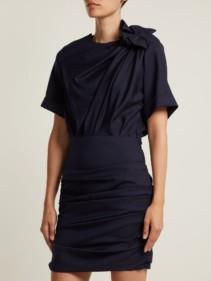 ISABEL MARANT ÉTOILE Oria Gathered Cotton Mini Blue Dress