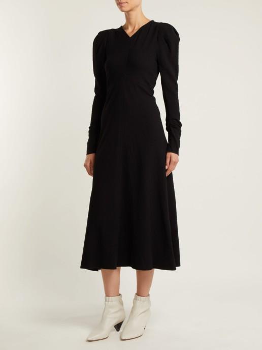 ISABEL MARANT Abi Gathered Crepe Black Dress