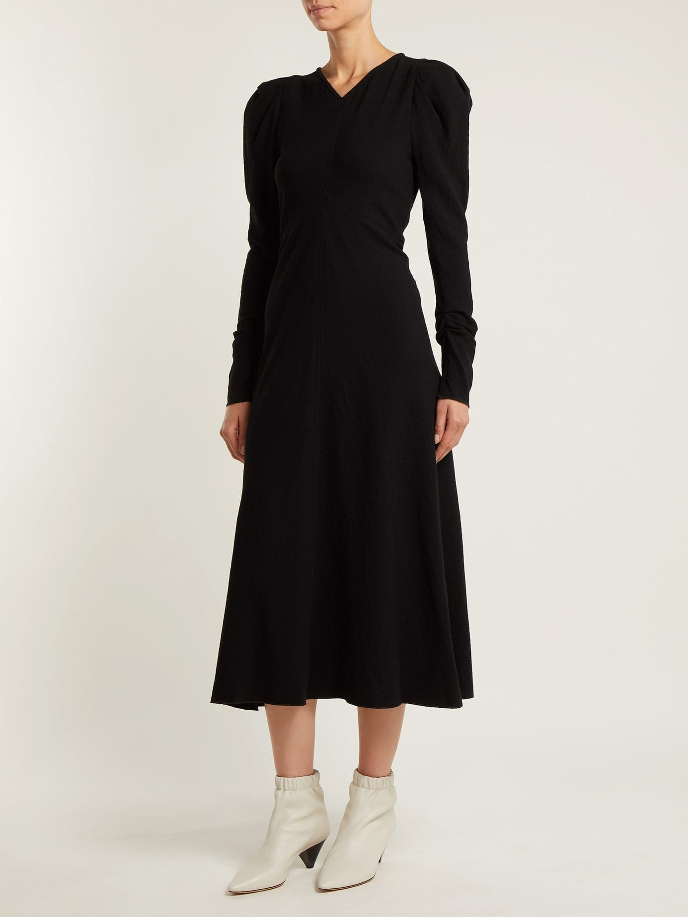 ISABEL MARANT Abi Gathered Crepe Black Dress
