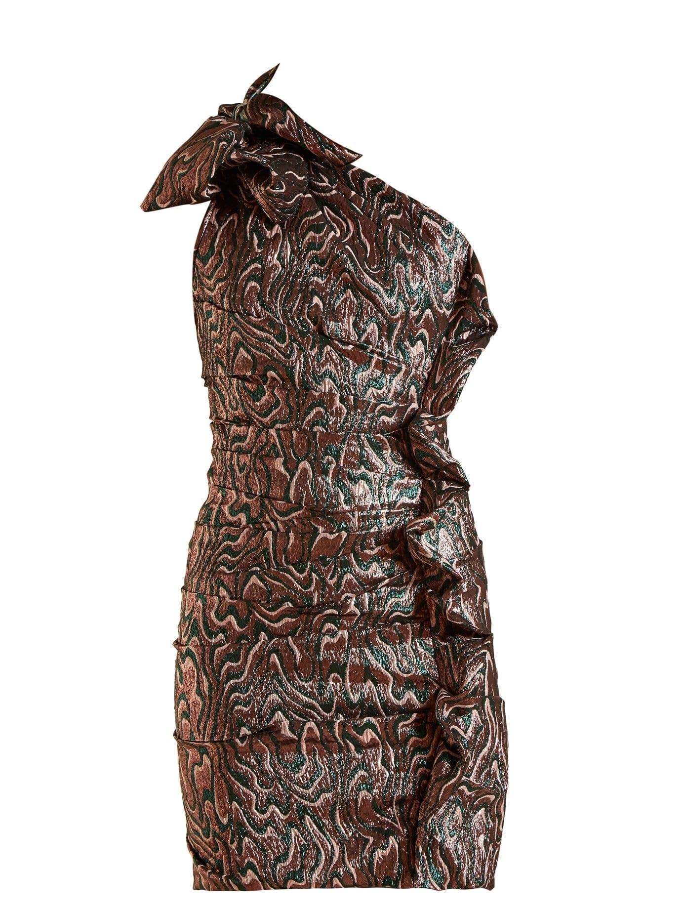 ISABEL MARANT Synee One Shoulder Jacquard Mini Pink / Green Dress
