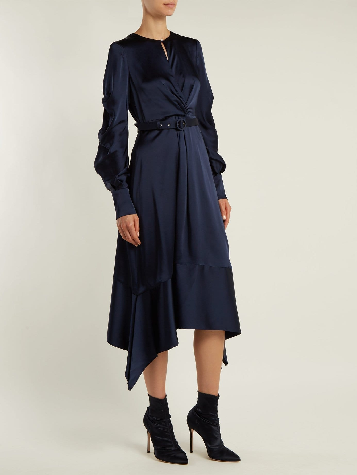 JONATHAN SIMKHAI Asymmetric Satin Midi Navy Dress