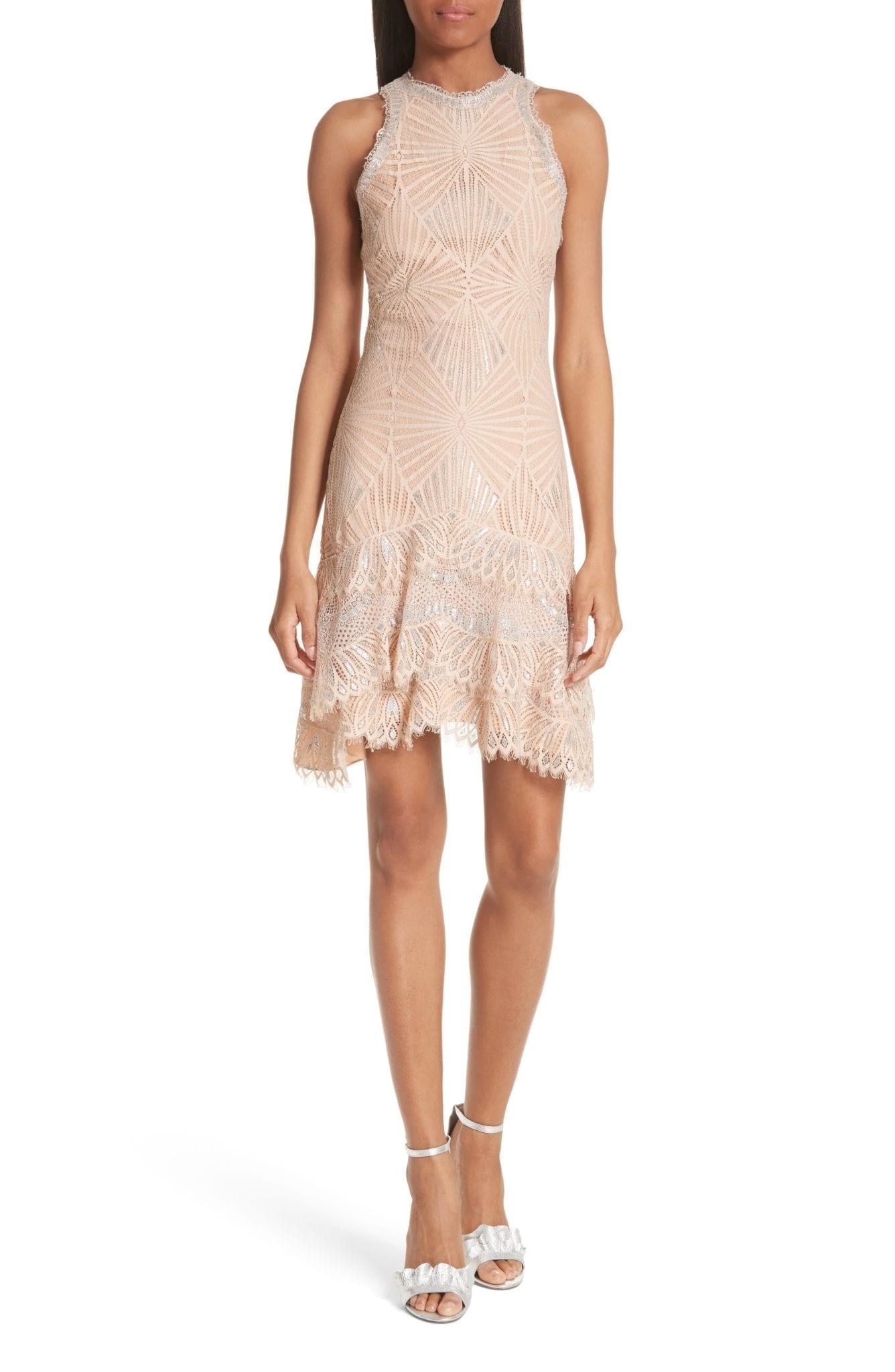 JONATHAN SIMKHAI Ruffle Hem Metallic Lace Nude Dress
