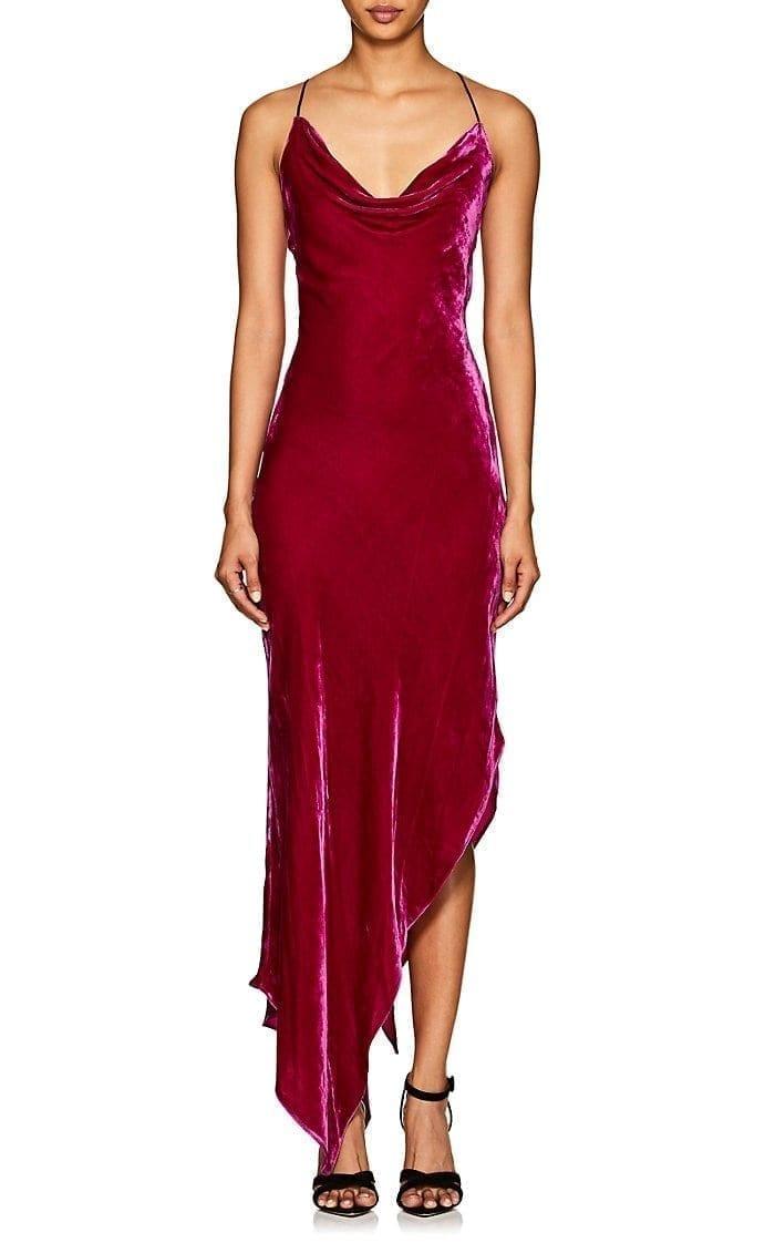 JUAN CARLOS OBANDO Asymmetric Velvet Cowlneck Fuchsia Dress