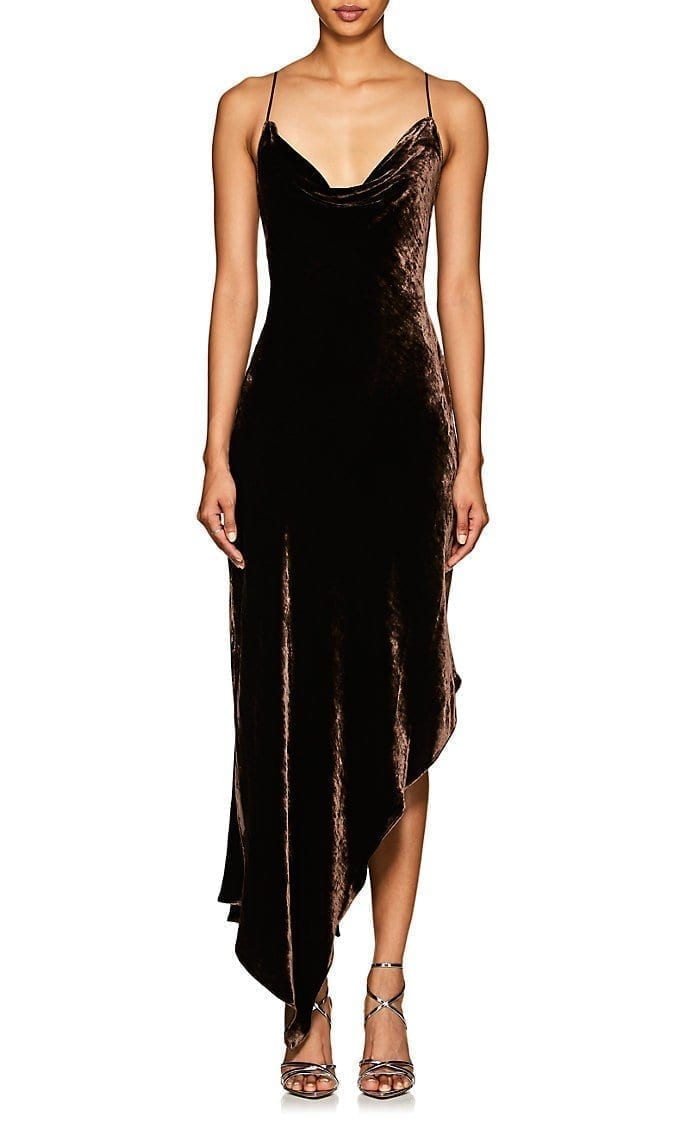 JUAN CARLOS OBANDO Velvet Cowlneck Asymmetric Brown Dress