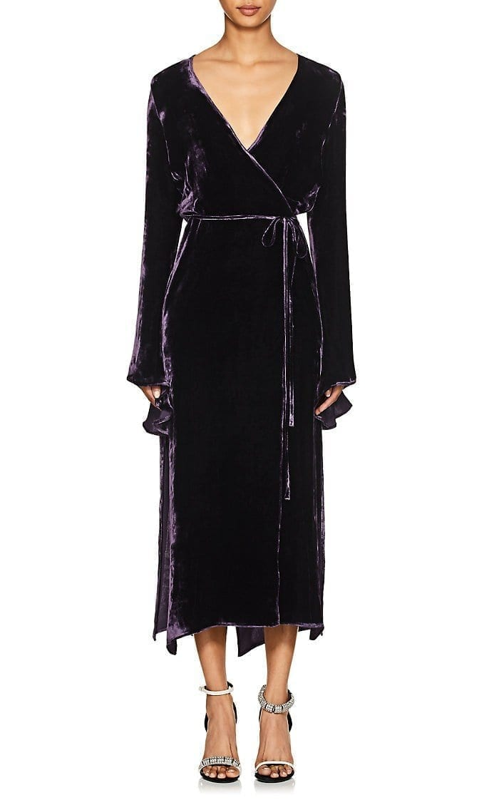 JUAN CARLOS OBANDO Velvet Wrap Dark Purple Dress