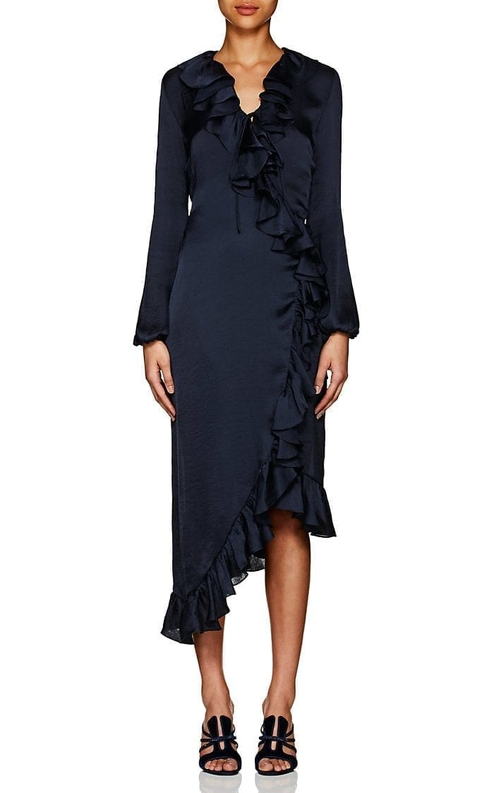 JUAN CARLOS OBANDO Washed Satin Wrap Front Navy Dress
