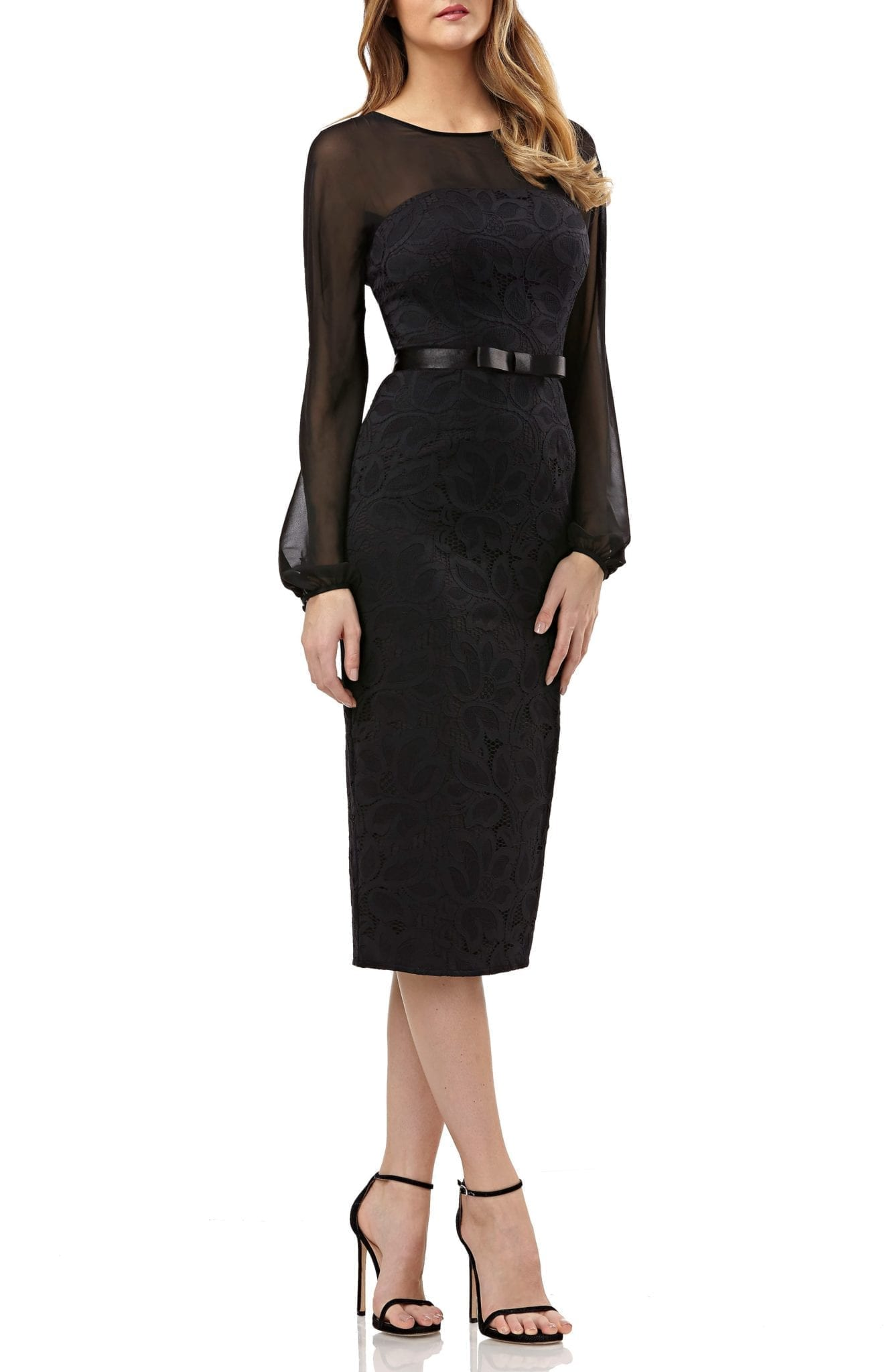 KAY UNGER Chiffon & Lace Sheath Black Dress