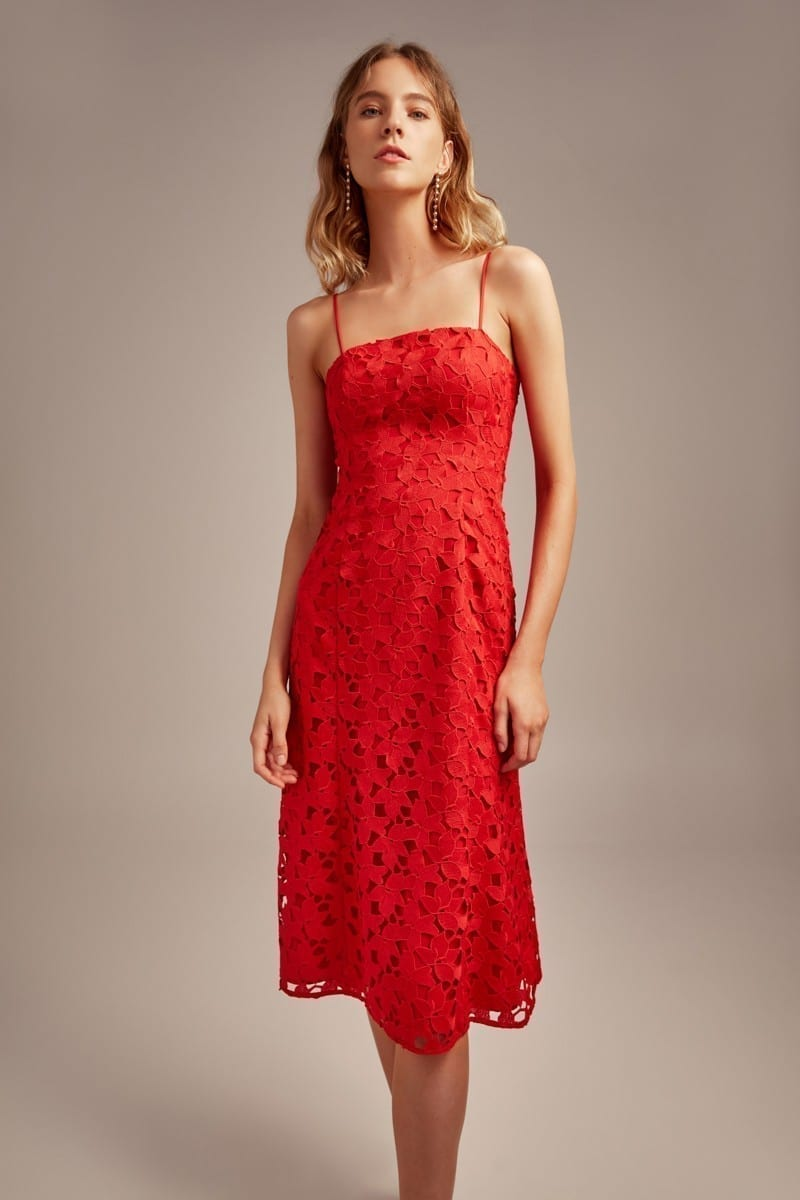 KEEPSAKE Headlines Lace Red Dress