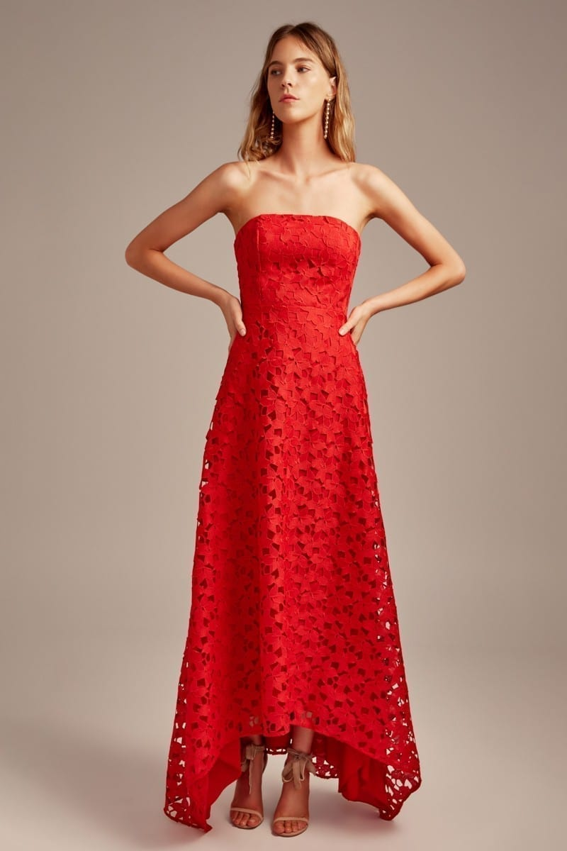 KEEPSAKE Headlines Lace Red Gown